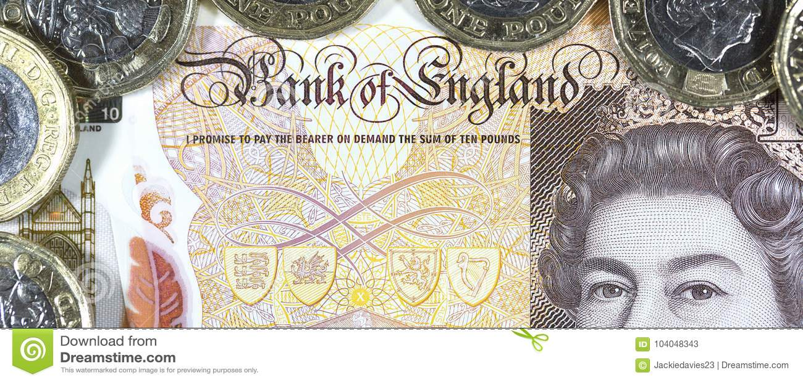 Valuta britannica - nuovo polimero una nota da dieci libbre