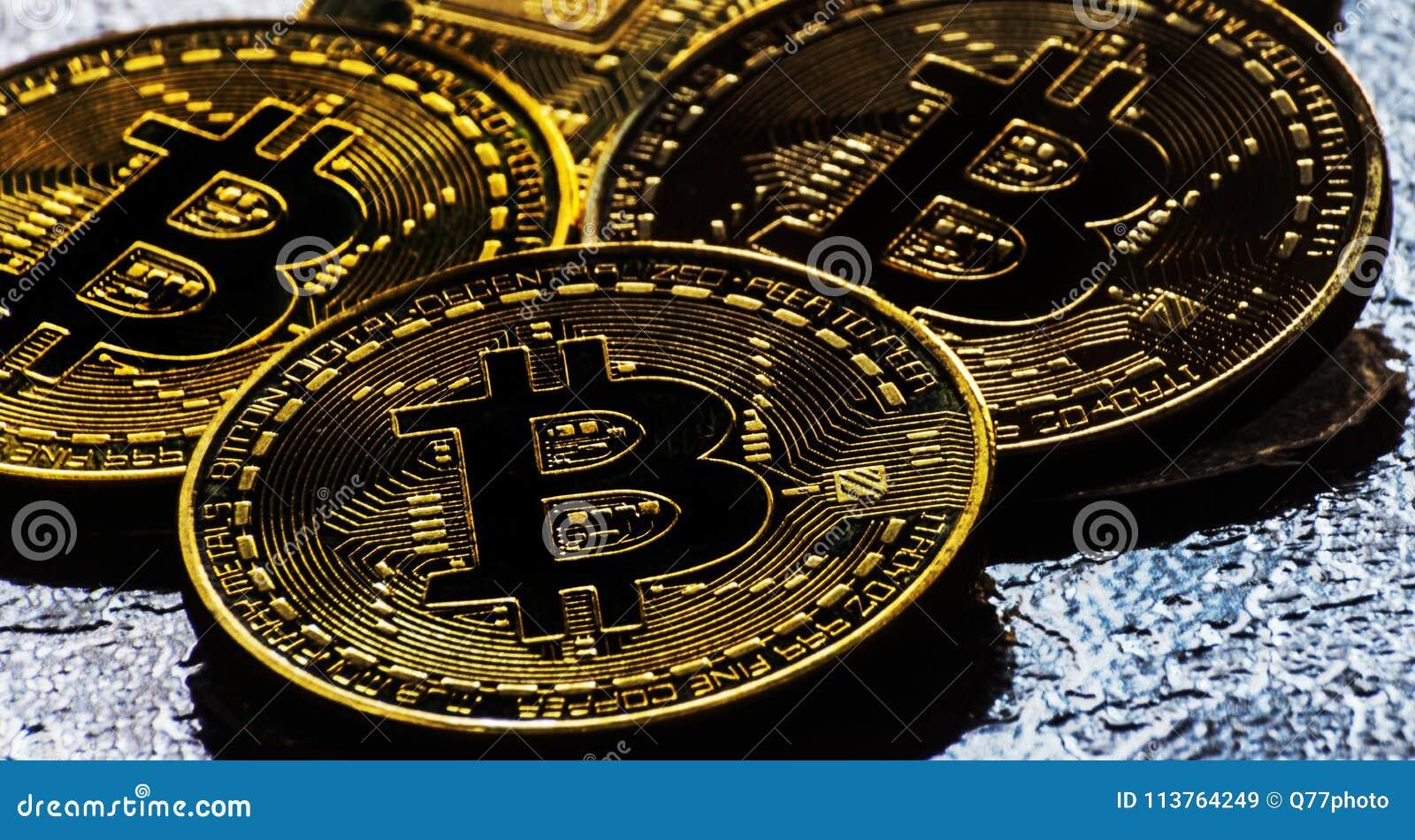 Valuta cripto Bitcoin dorato, BTC, moneta macro presa, bitcoin MI