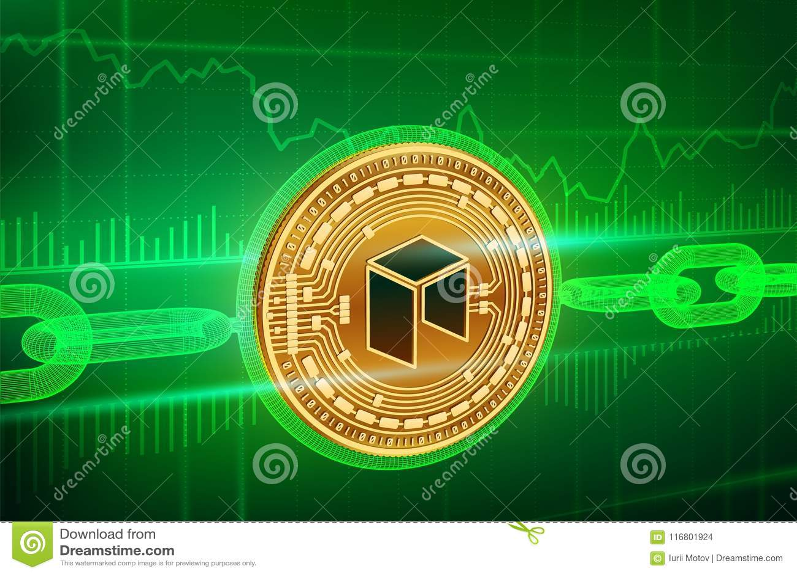Valuta cripto Catena di blocco Neo moneta neo dorata fisica isometrica 3D con la catena del wireframe Concetto di Blockchain