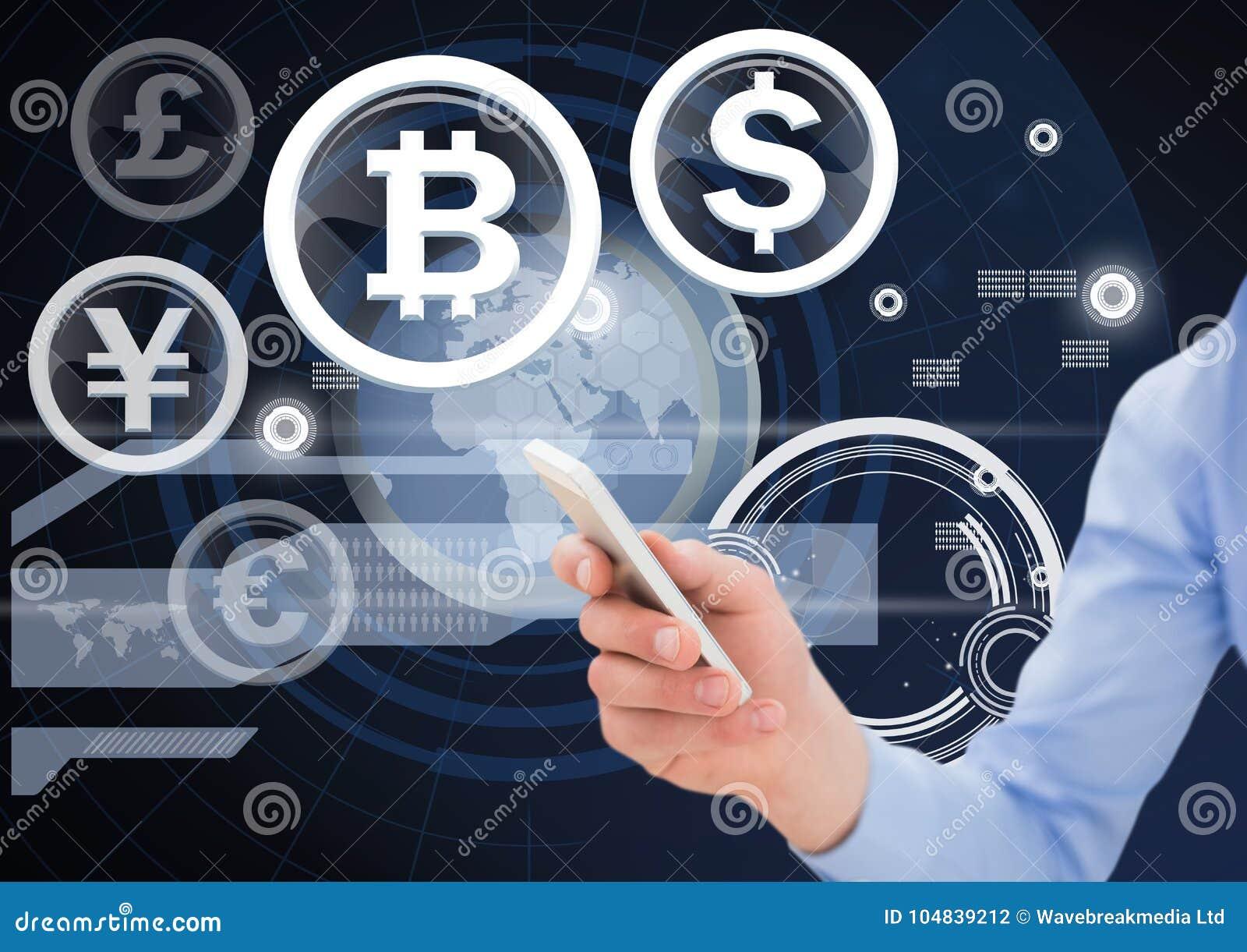 Valuta och biten myntar symboler och räcker innehavtelefonen