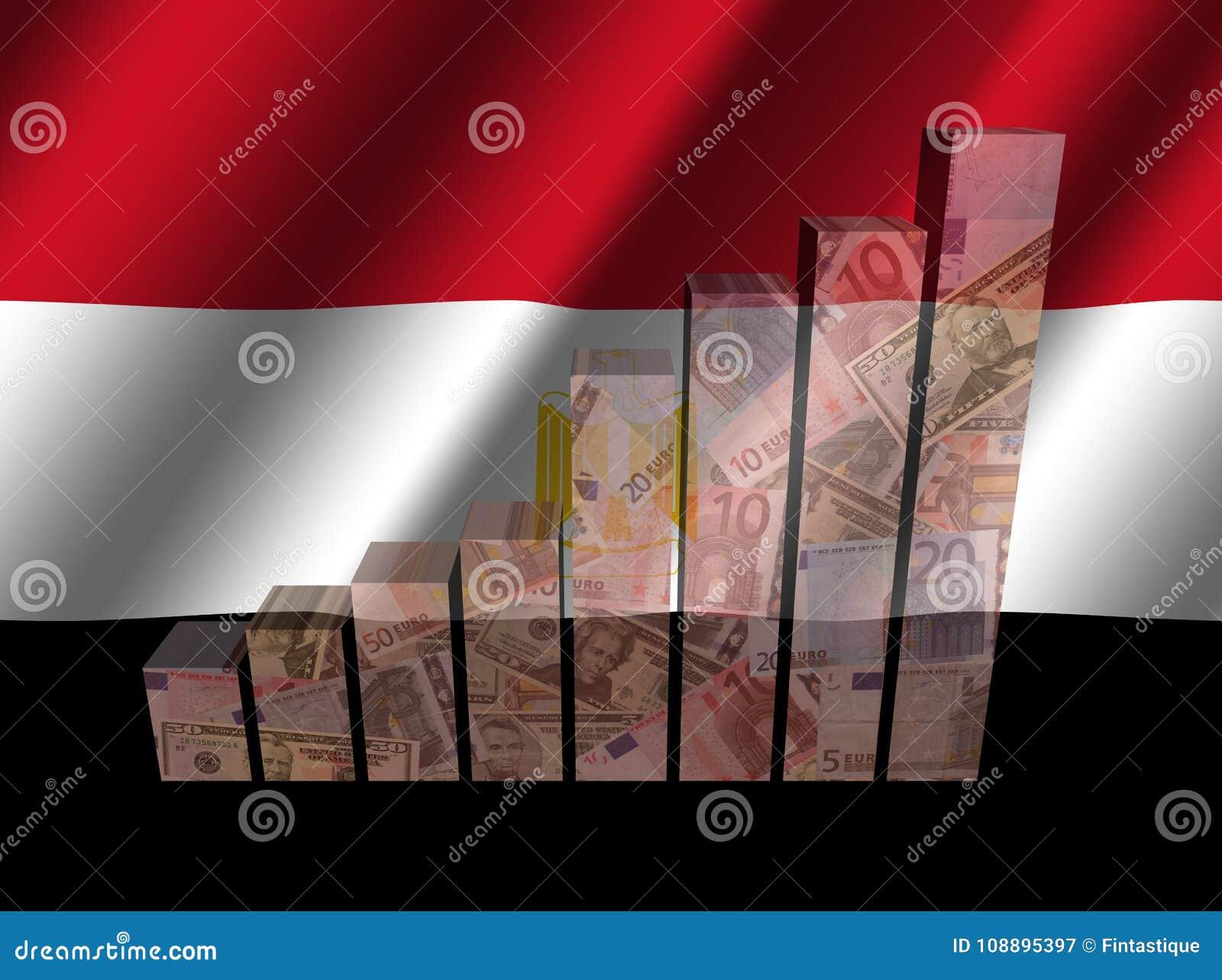Valutagraf på krusig egyptisk flaggaillustration
