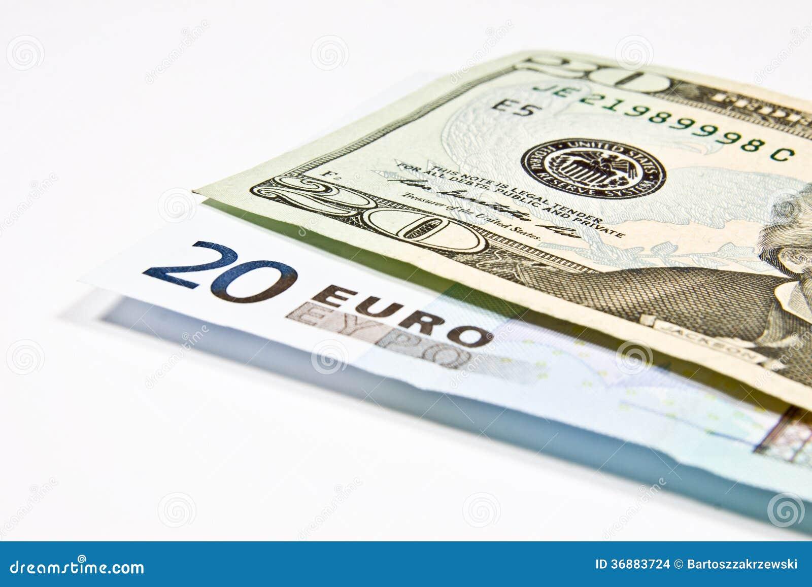 Download Valute euro e dollaro fotografia stock. Immagine di economia - 36883724