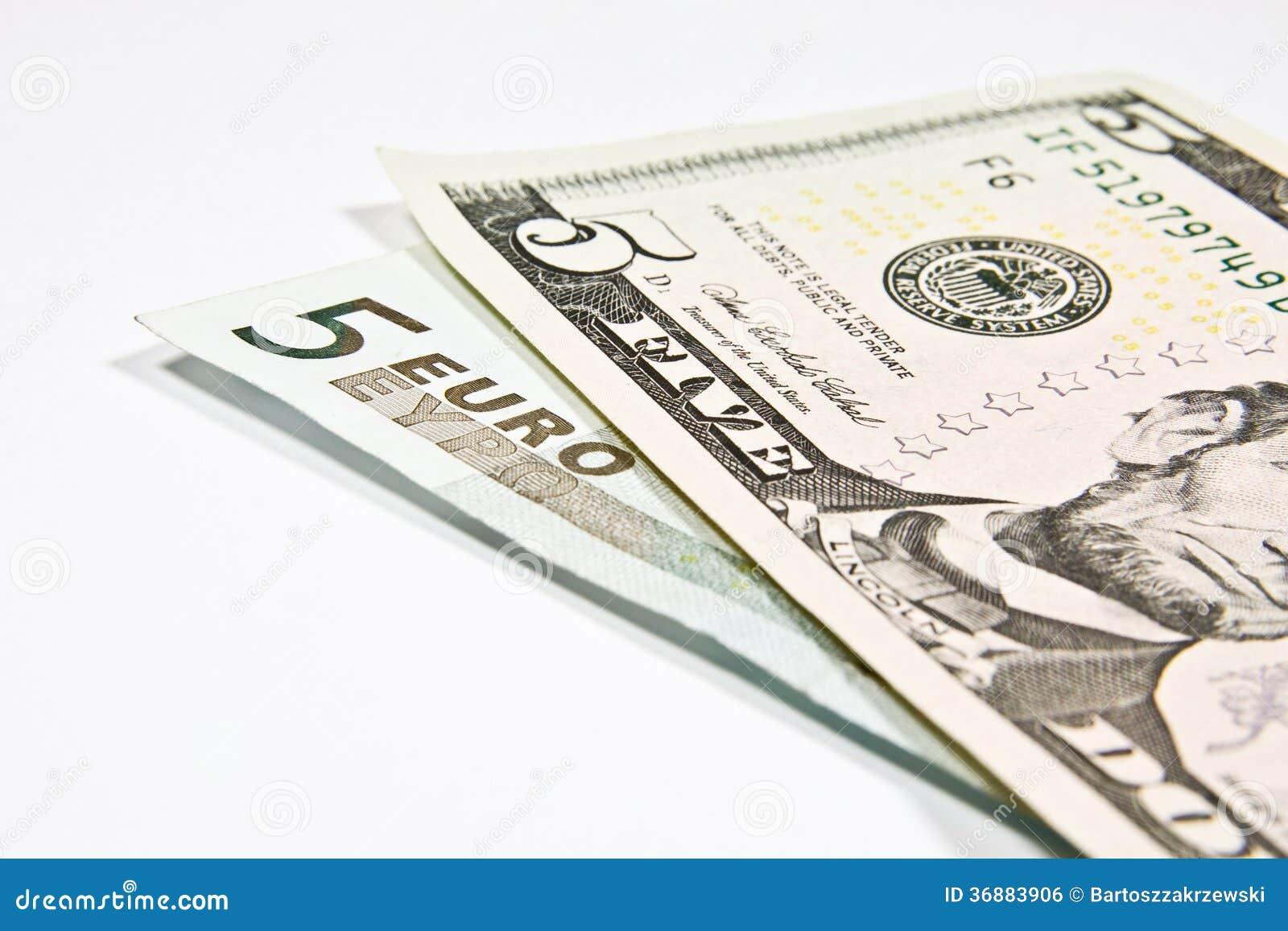 Download Valute euro e dollaro fotografia stock. Immagine di americano - 36883906