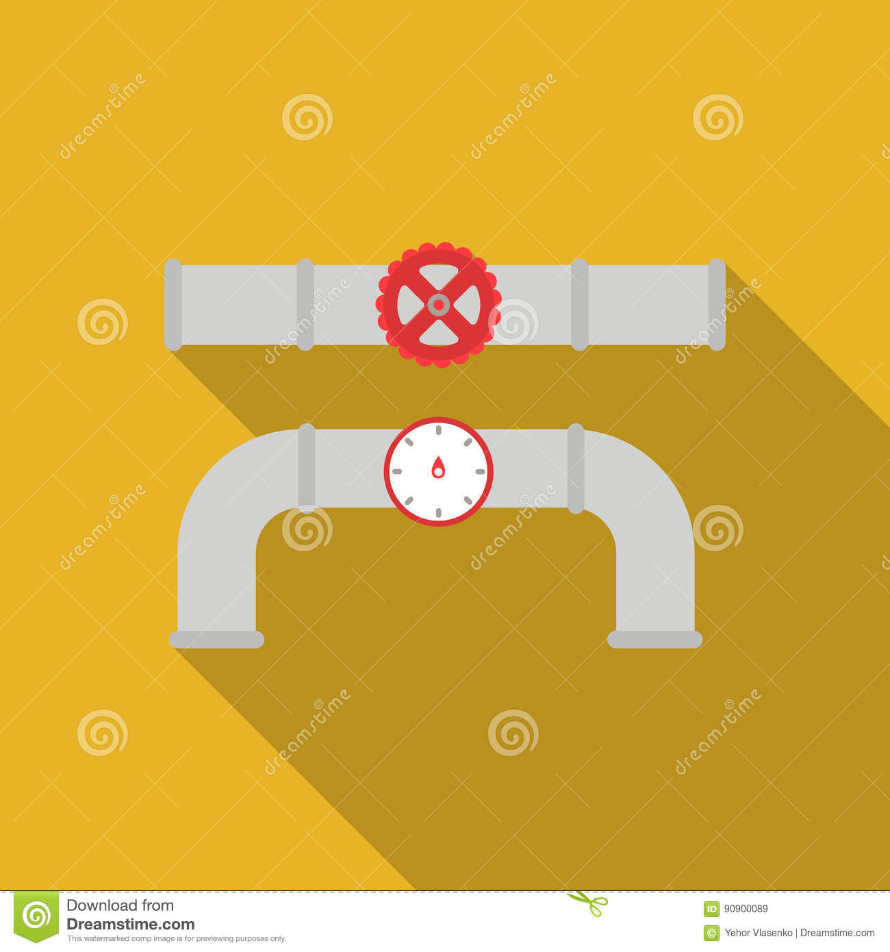 Valve And Meter Icon In Flat Style Isolated On White Background