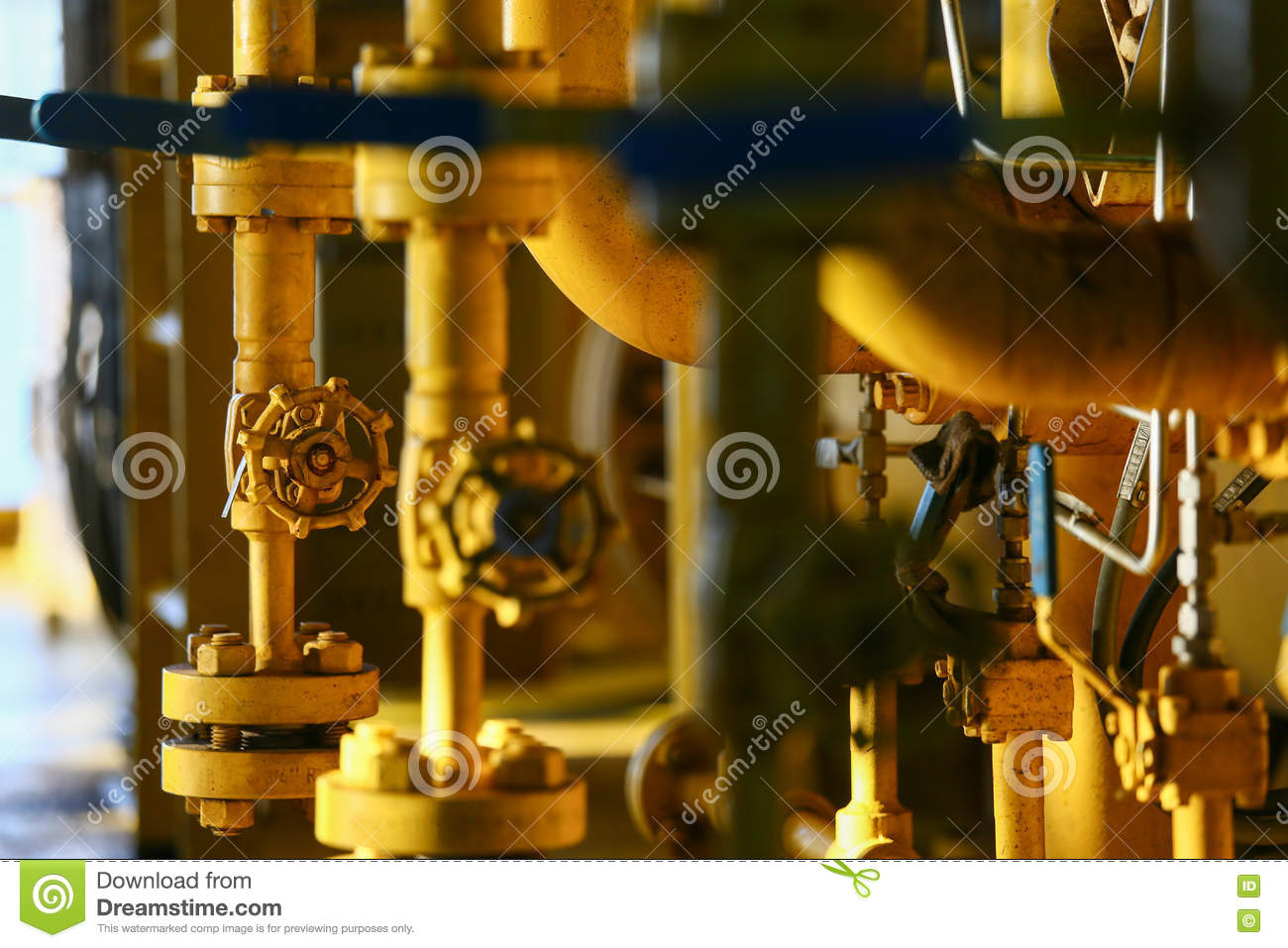 Valves manual in the process. Production process used manual valve to  control the system,