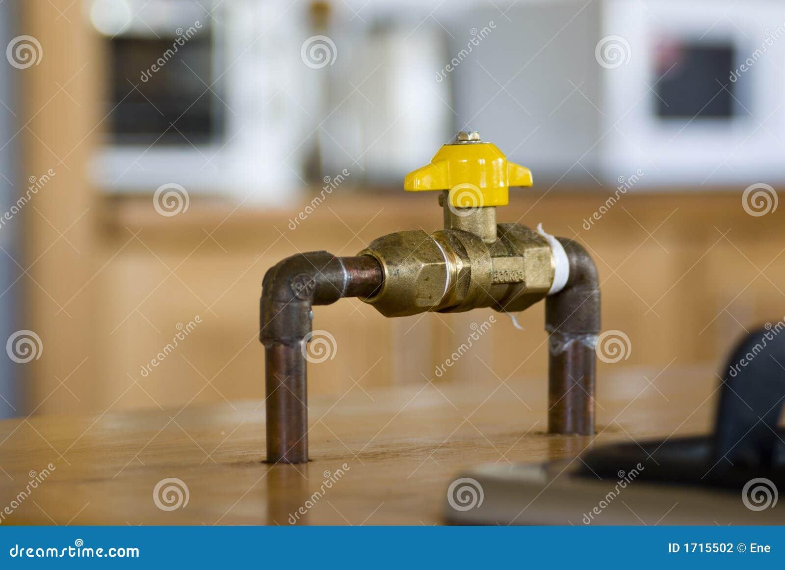 Valvola di intercettazione del gas fotografia stock - Tubo gas cucina lunghezza massima ...