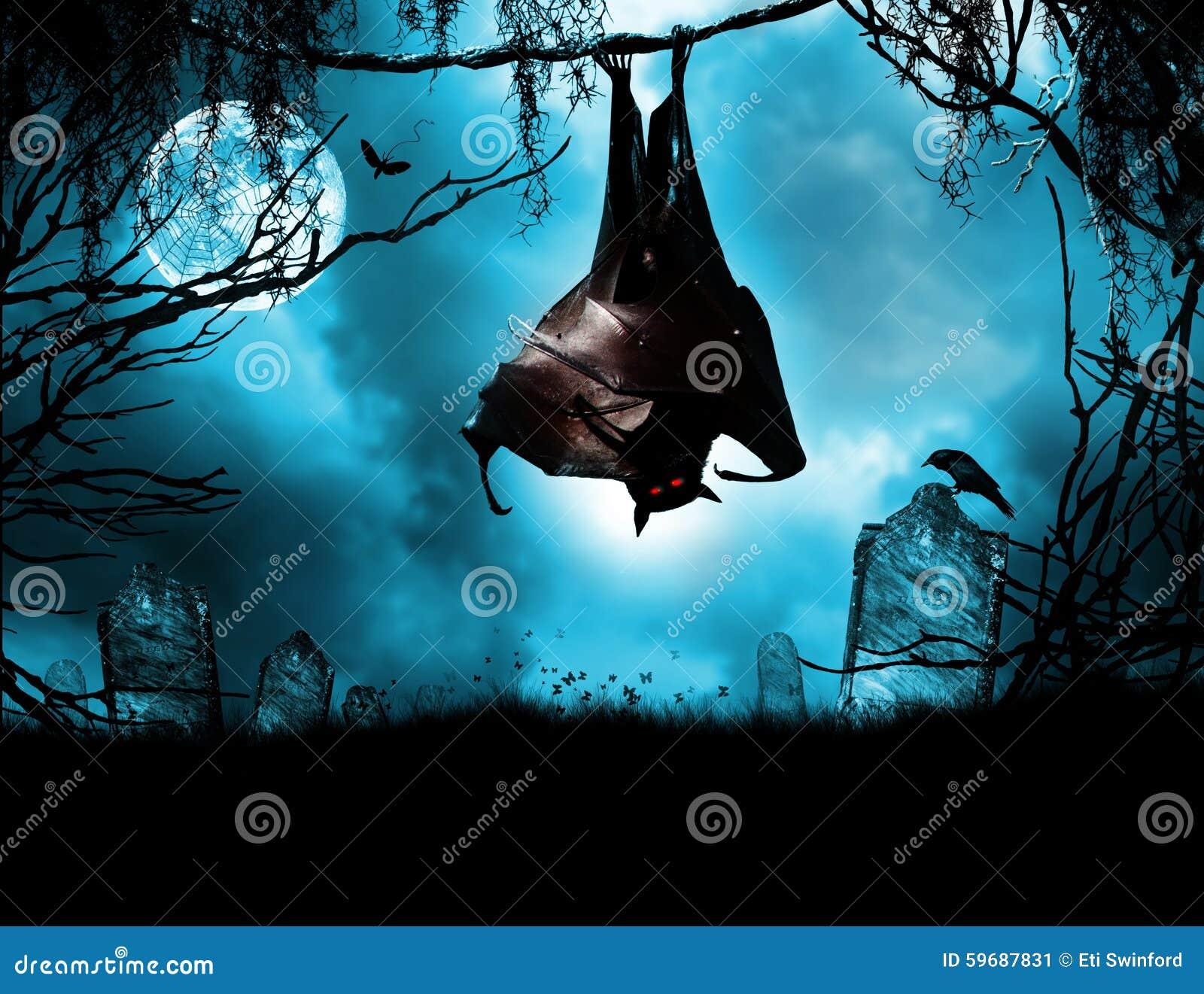 Vampier het hangen over graf