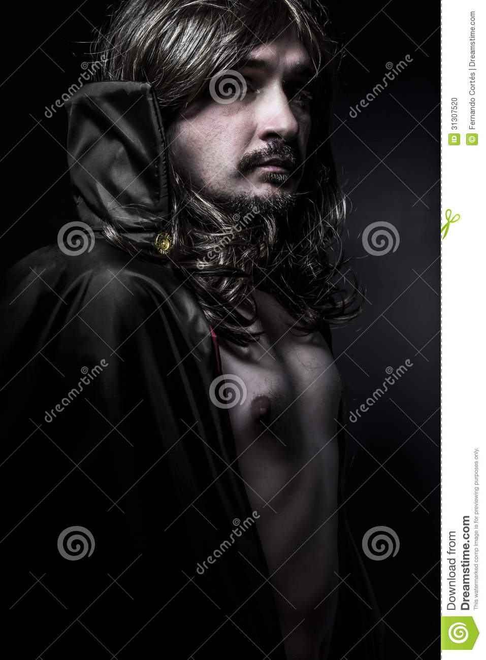 Vampire With Black Coat And Long Hair Stock Photo Image