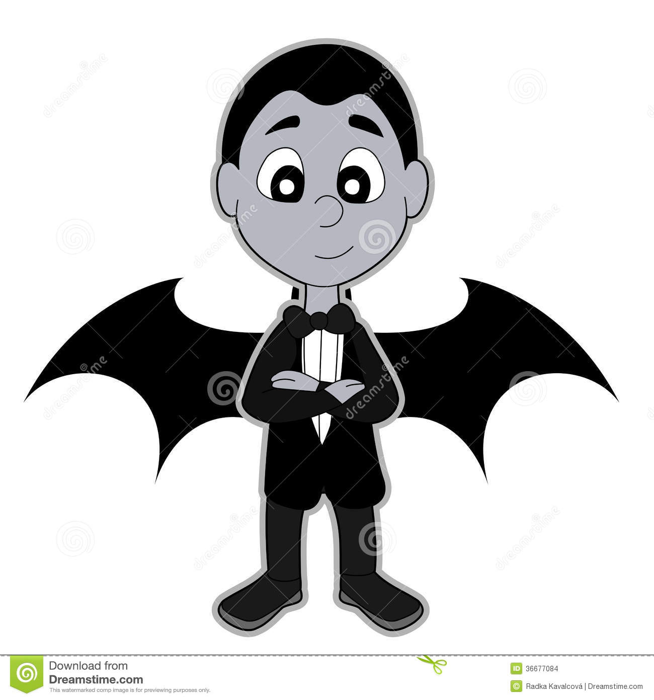 Halloween illustration of happy smiling boy dressed in black suit with ...