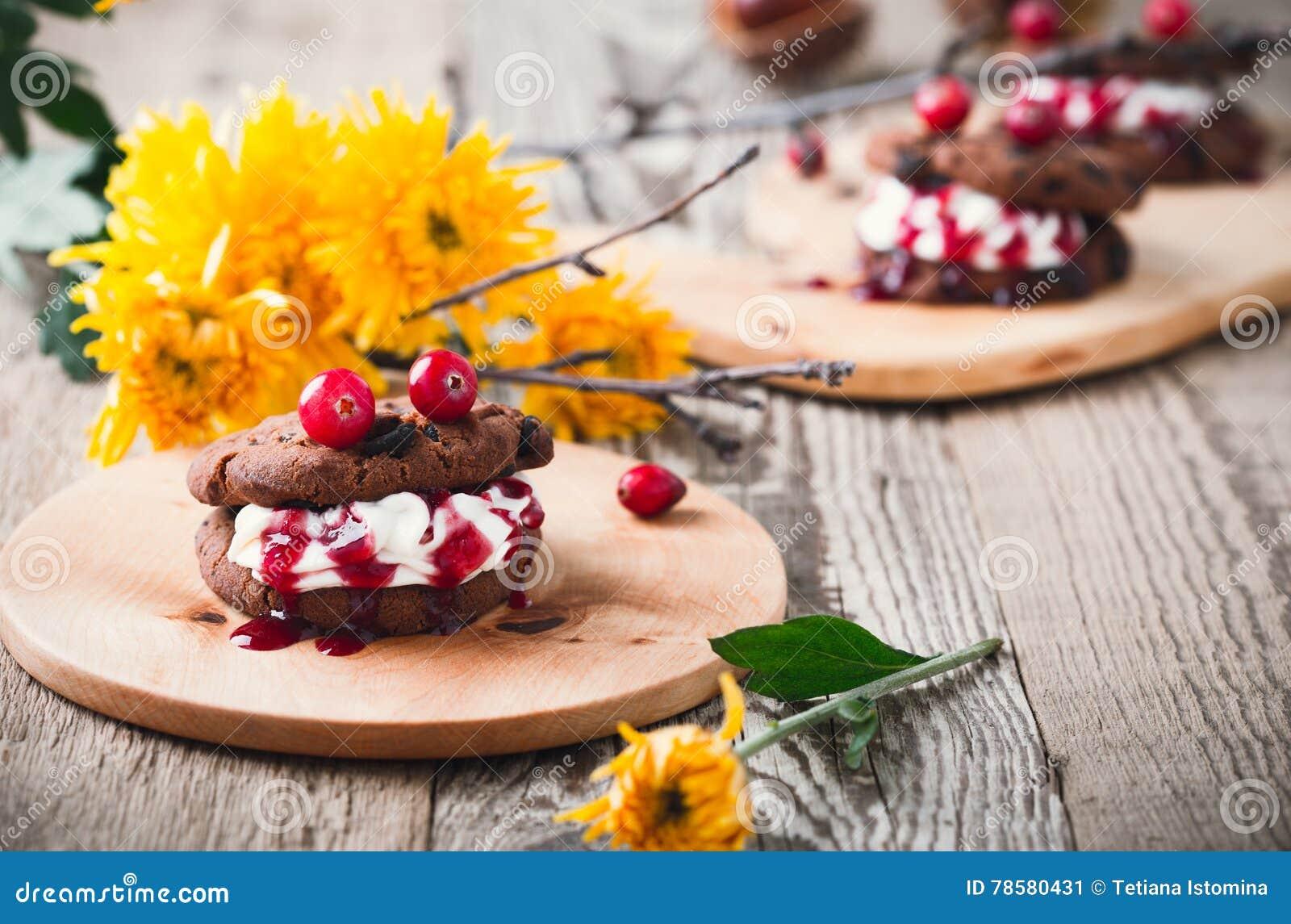 vampire chocolate chip cookie sandwiches, halloween dessert stock