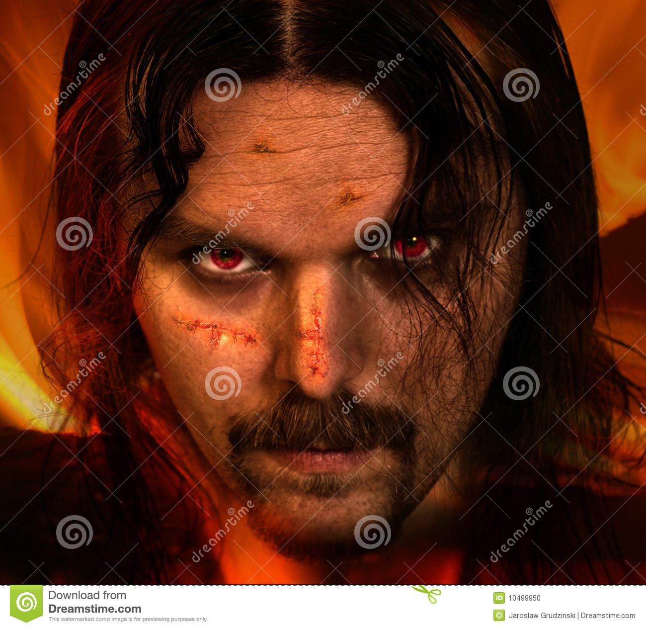 vampire warrior with scars stock photo image of anger