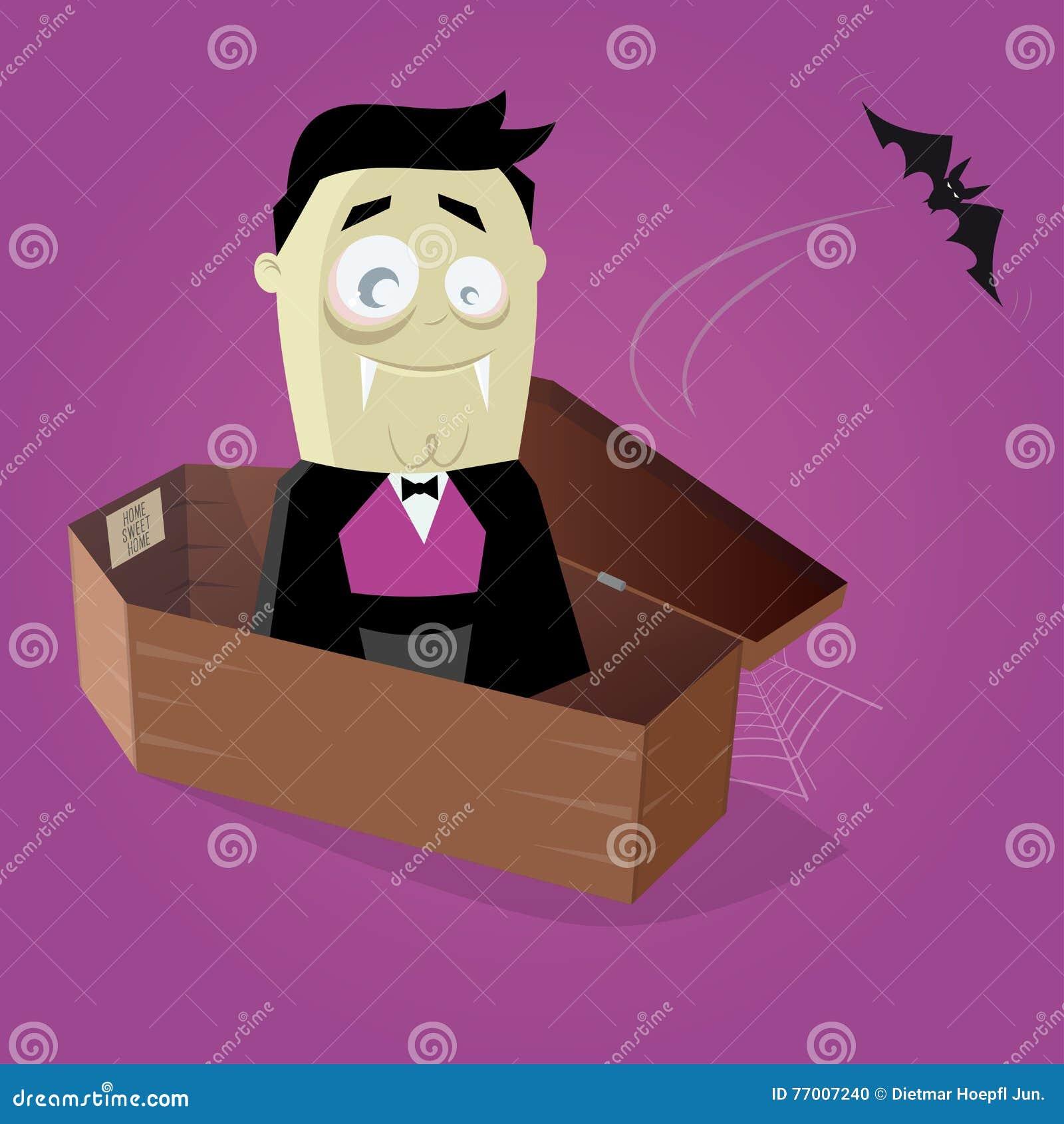 Vampiro cômico engraçado em um caixão