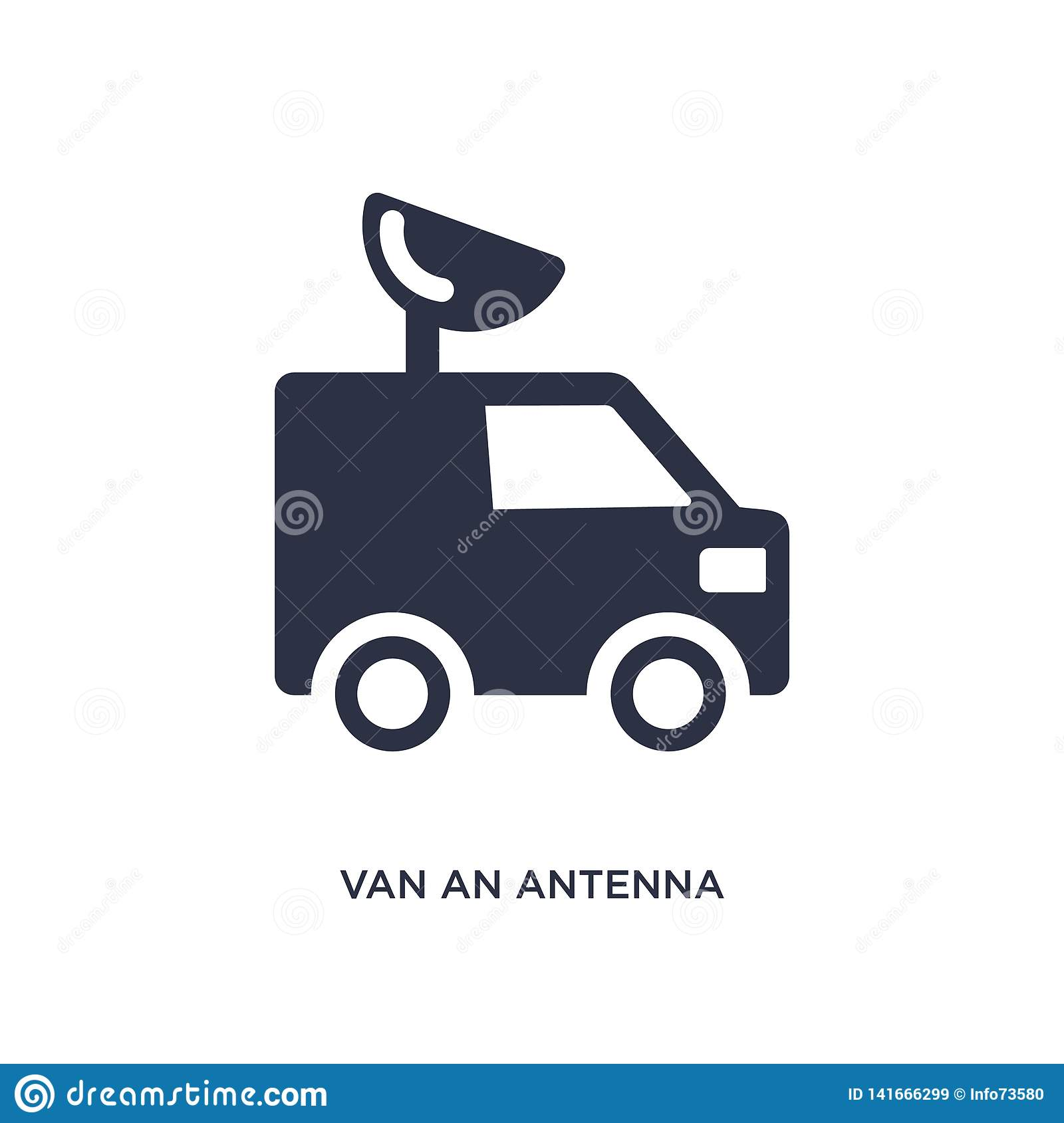 van an antenna icon on white background. Simple element illustration from mechanicons concept