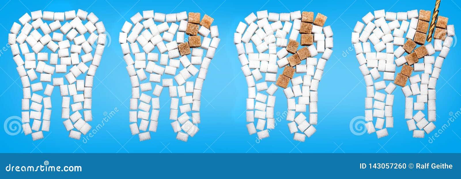 Van bederf beschadigde tanden van suiker tegen een blauwe achtergrond