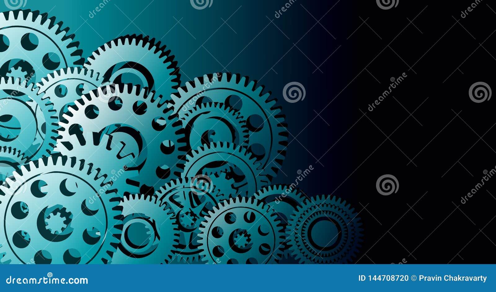 Van bedrijfs radertjestoestellen Industri?le Achtergrond E r Vector illustratie