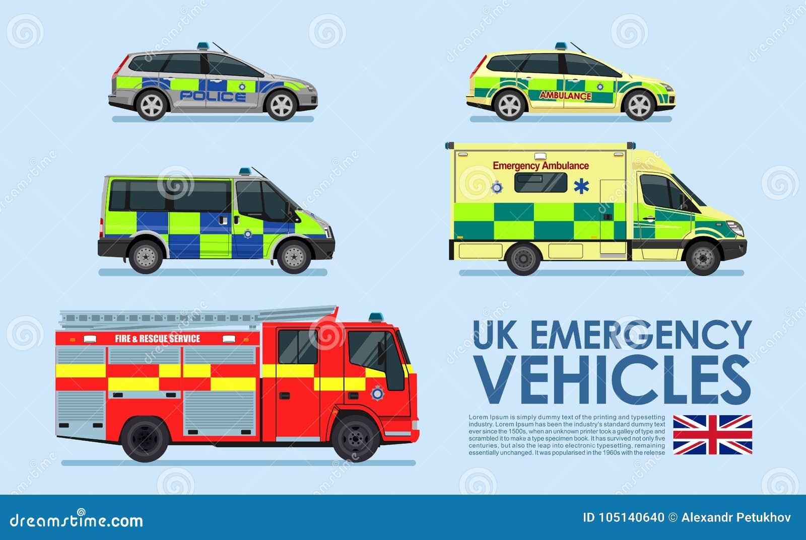 Van Britse die de auto s Noodsituatievoertuigen, politiewagen, ziekenwagenbestelwagen, brandvrachtwagen op blauwe achtergrond wor