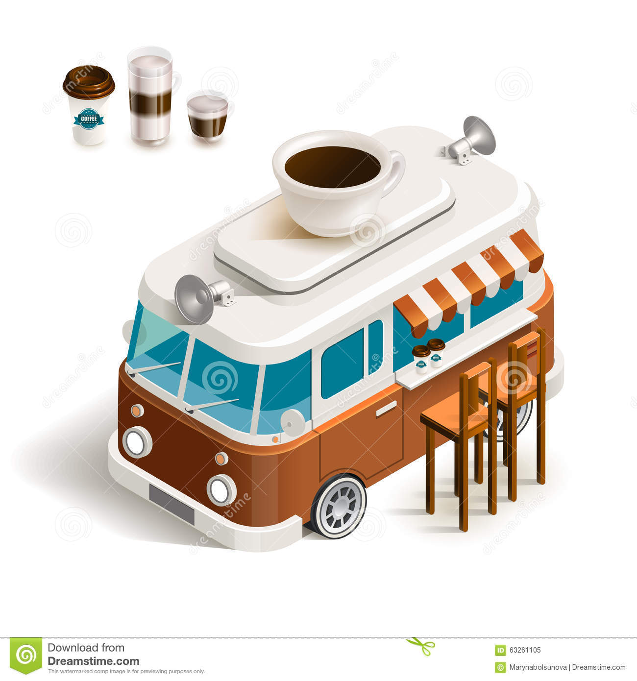 Van With Coffee Stock Vector Illustration Of Milk Cute