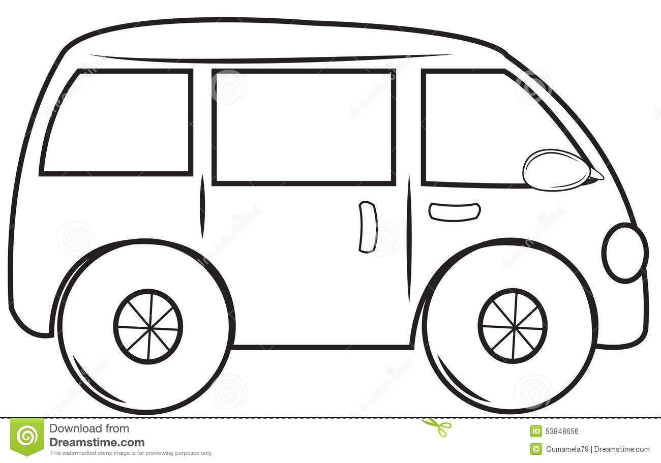 Van Coloring Pages For Kids Sketch Page
