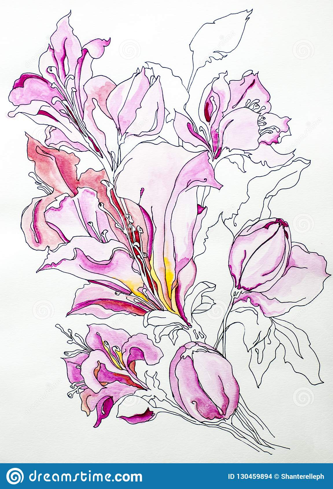 Van de de achtergrond kleurentextuur van de bloemwaterverf trekt de diepe blauwe witte grijze acrylicsverf lilly verf trekt isola