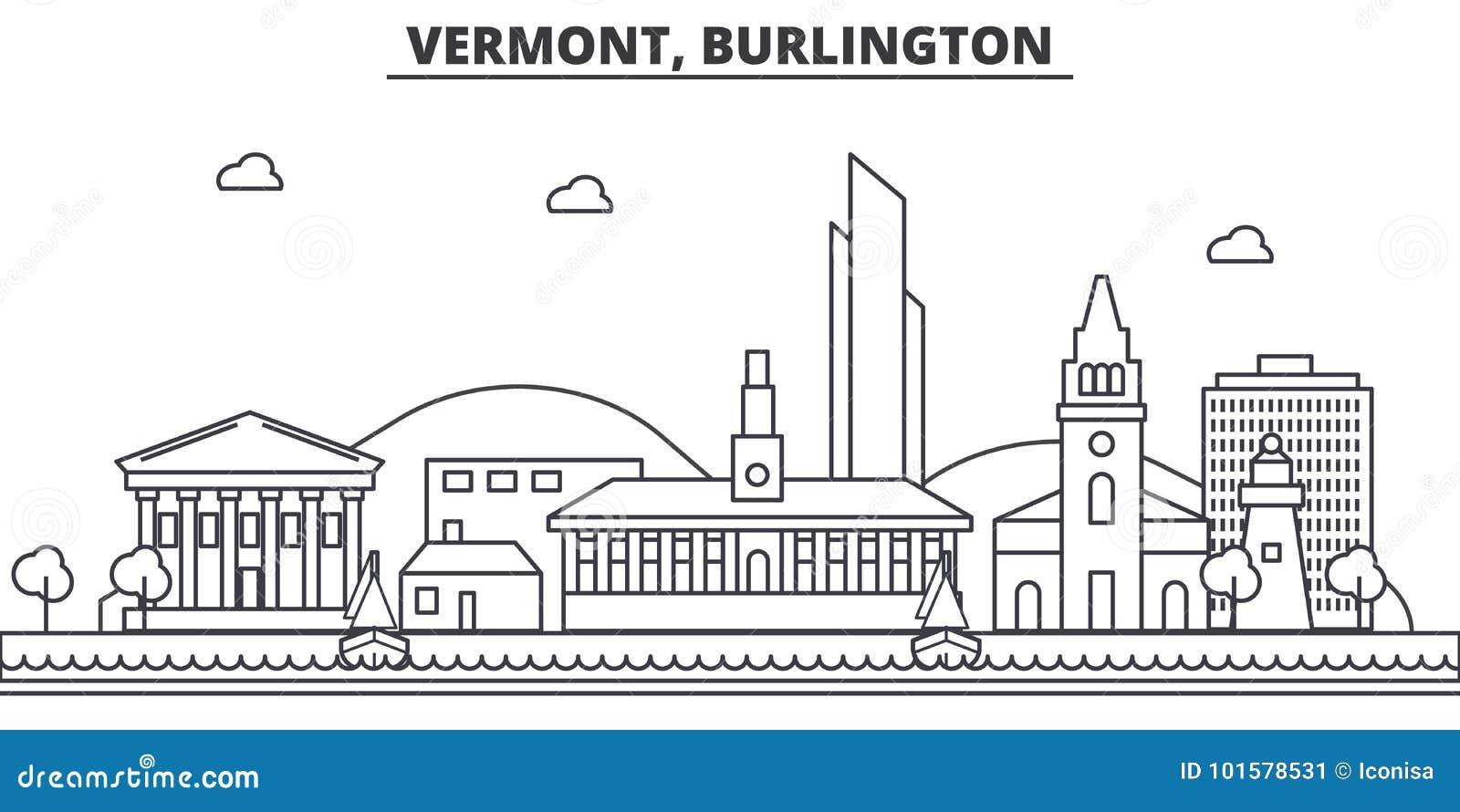 Van de de architectuurlijn van Vermont, Burlington de horizonillustratie Lineaire vectorcityscape met beroemde oriëntatiepunten,