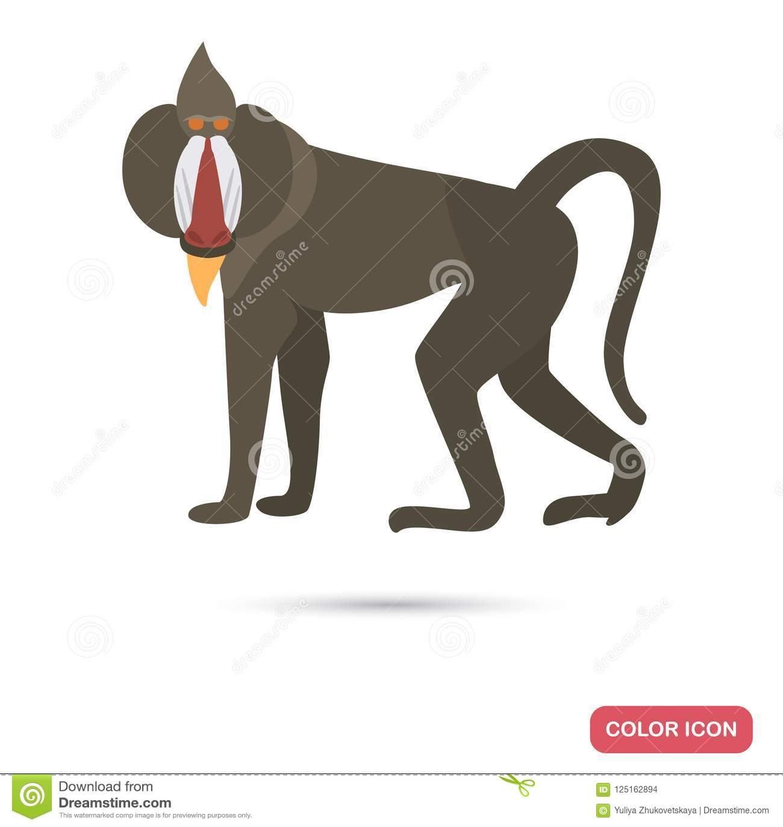 Van de de bavianenkleur van Afrika het vlakke pictogram