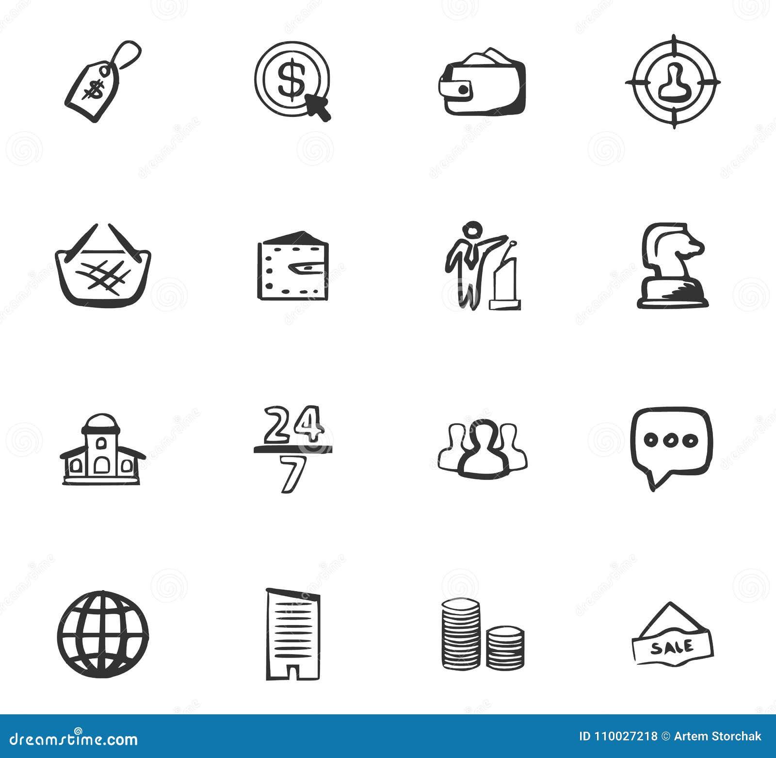 Van de bedrijfs krabbel geplaatste pictogrammen