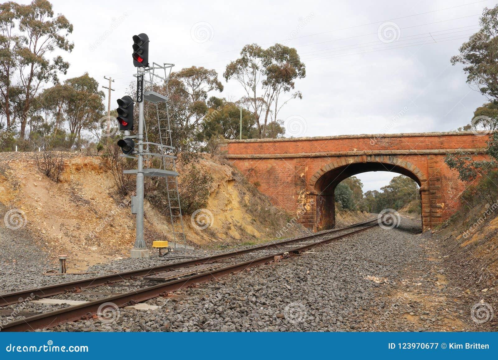 Van de castlemaine-zaagmolen de spoorwegtunnel Wegbrug dichtbij Castlemaine, Australië