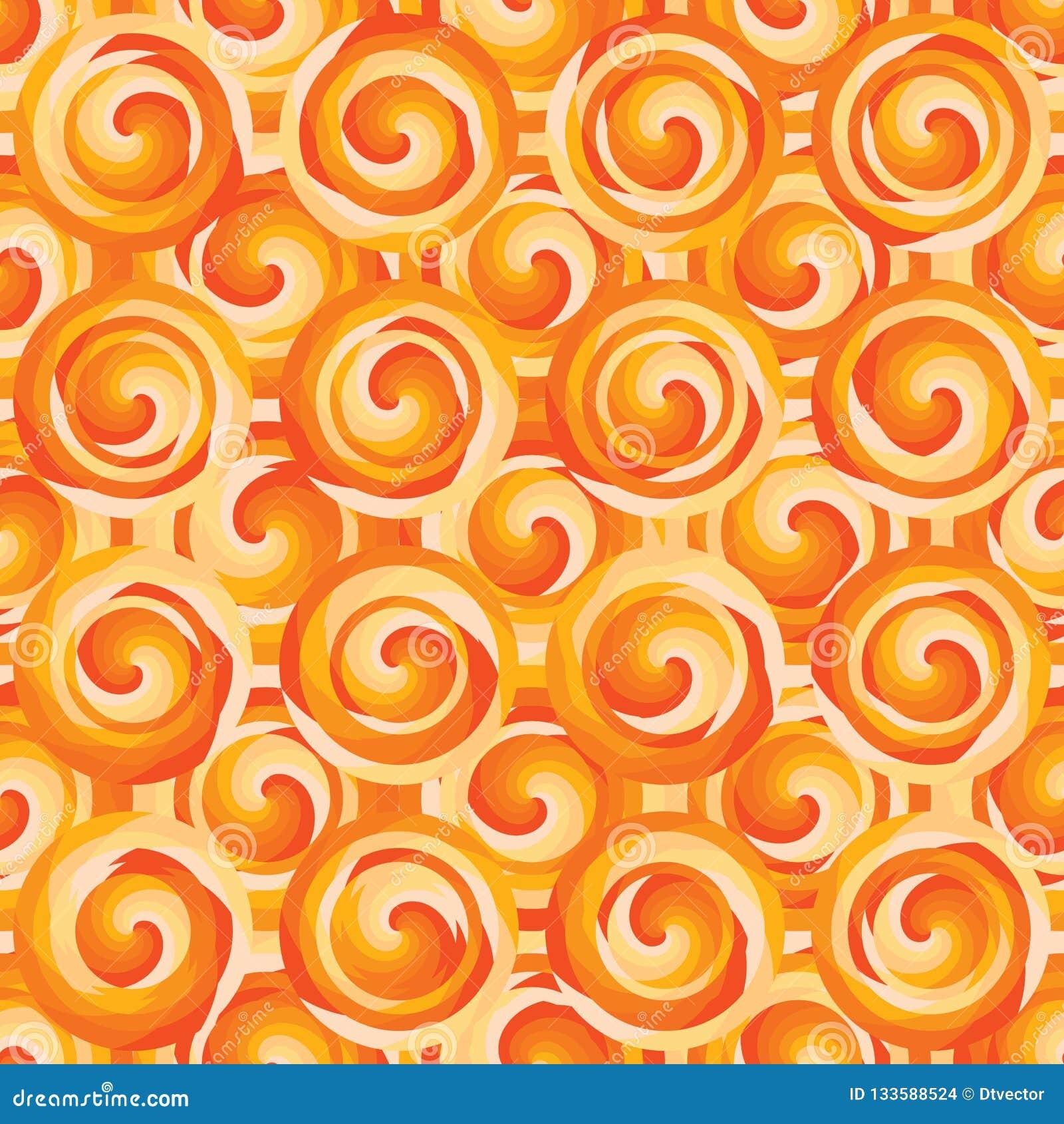 Van de de cirkellaag van de cirkelwerveling oranje de symmetrie naadloos patroon