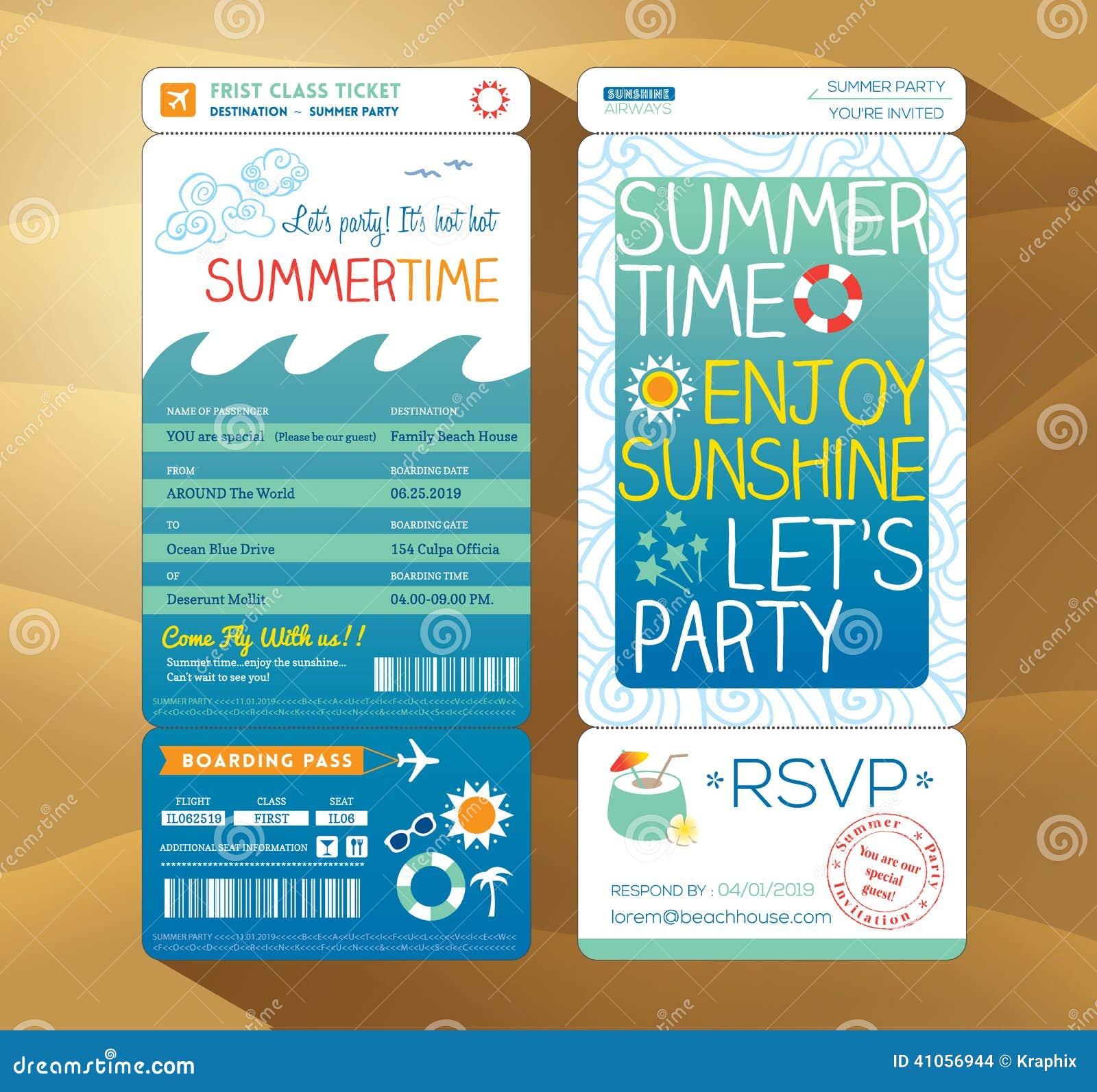 Van de de achtergrond partij instapkaart van de zomervakantie malplaatje voor s
