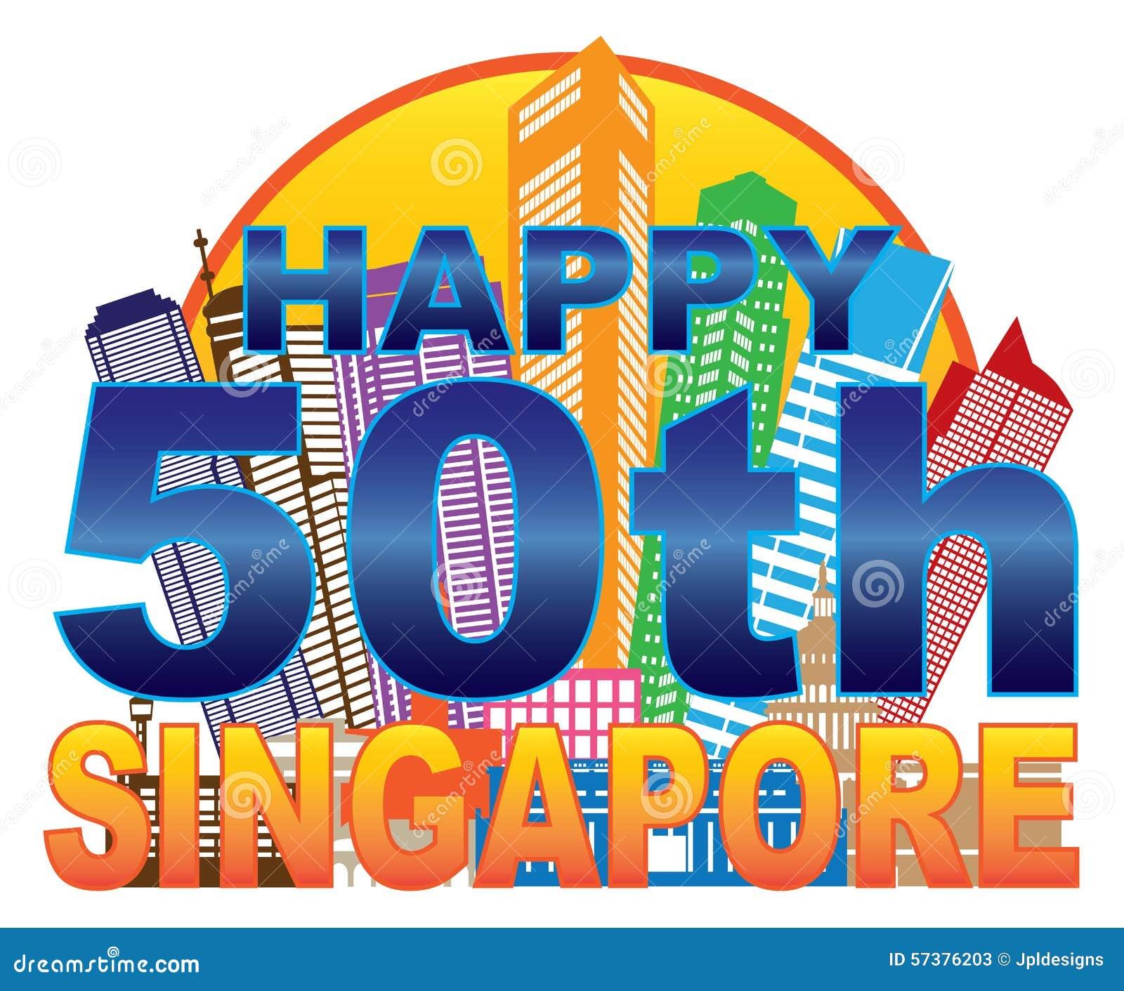 Van de de Daghorizon van Singapore vijftigste de Nationale Illustratie van de de Cirkelkleur
