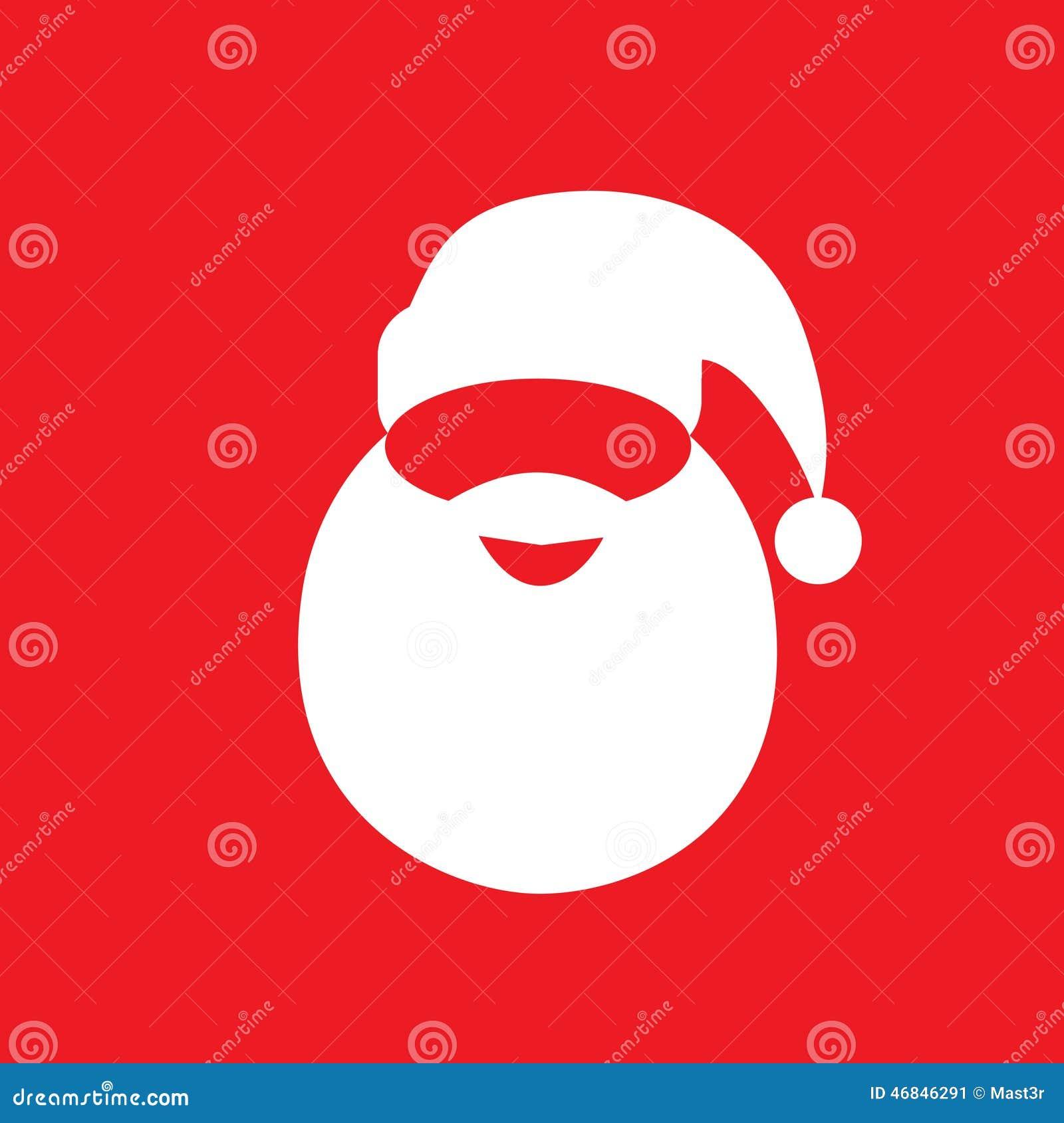 Van de de hoedenbaard van de Kerstman vector van het het pictogramontwerp de vlakke