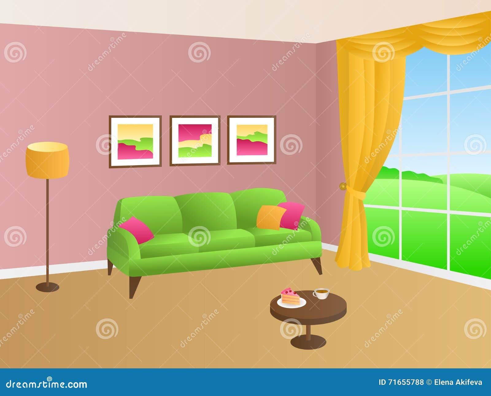 Van de de hoofdkussenslamp van de woonkamer groene roze bank gele ...