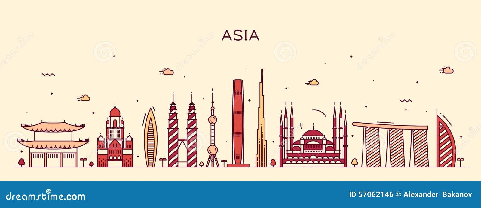 Van de de horizon In vectorillustratie van Azië de lijnart.