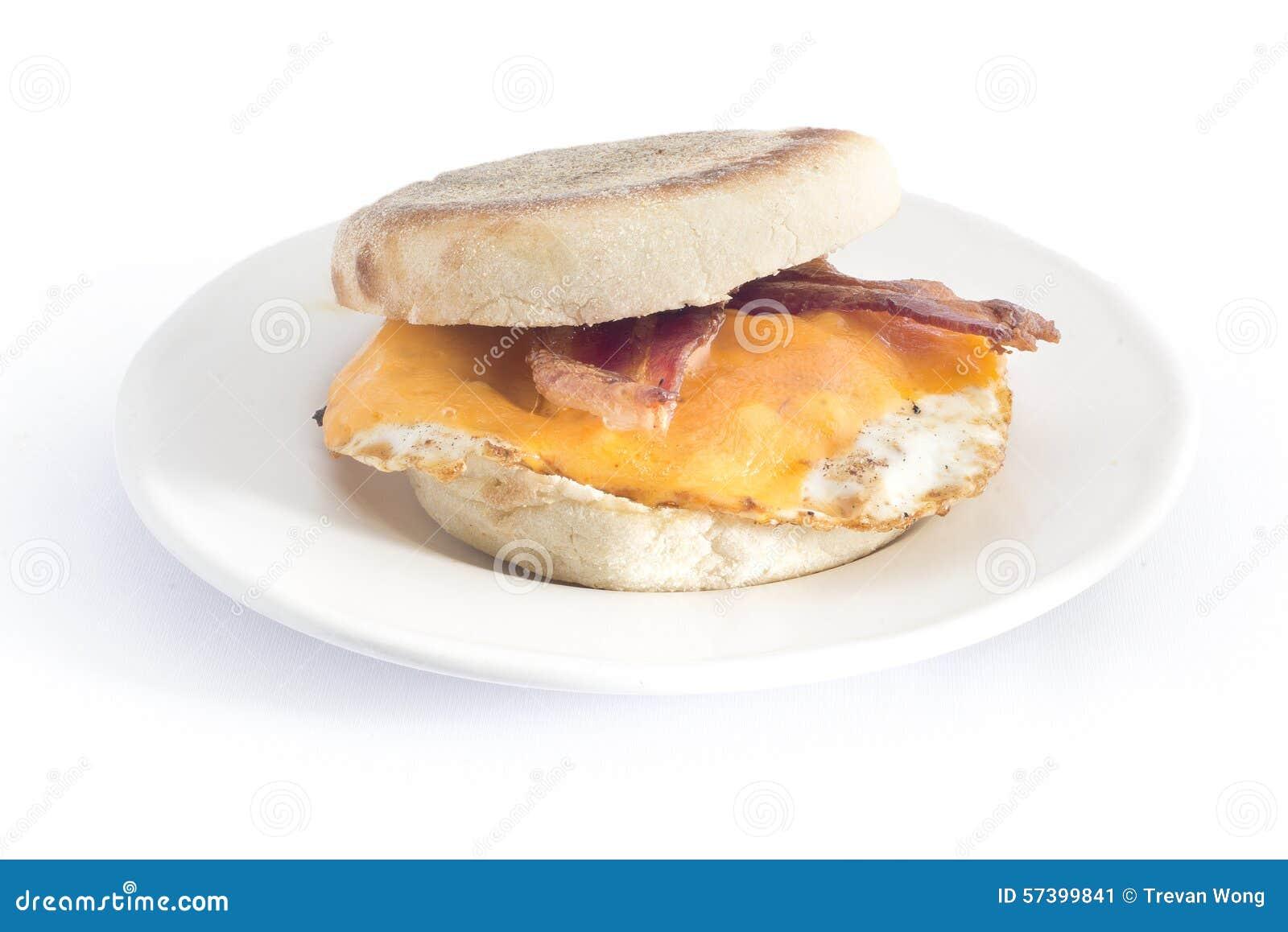 Van de de kaas Engelse muffin van het baconei het ontbijtsandwich