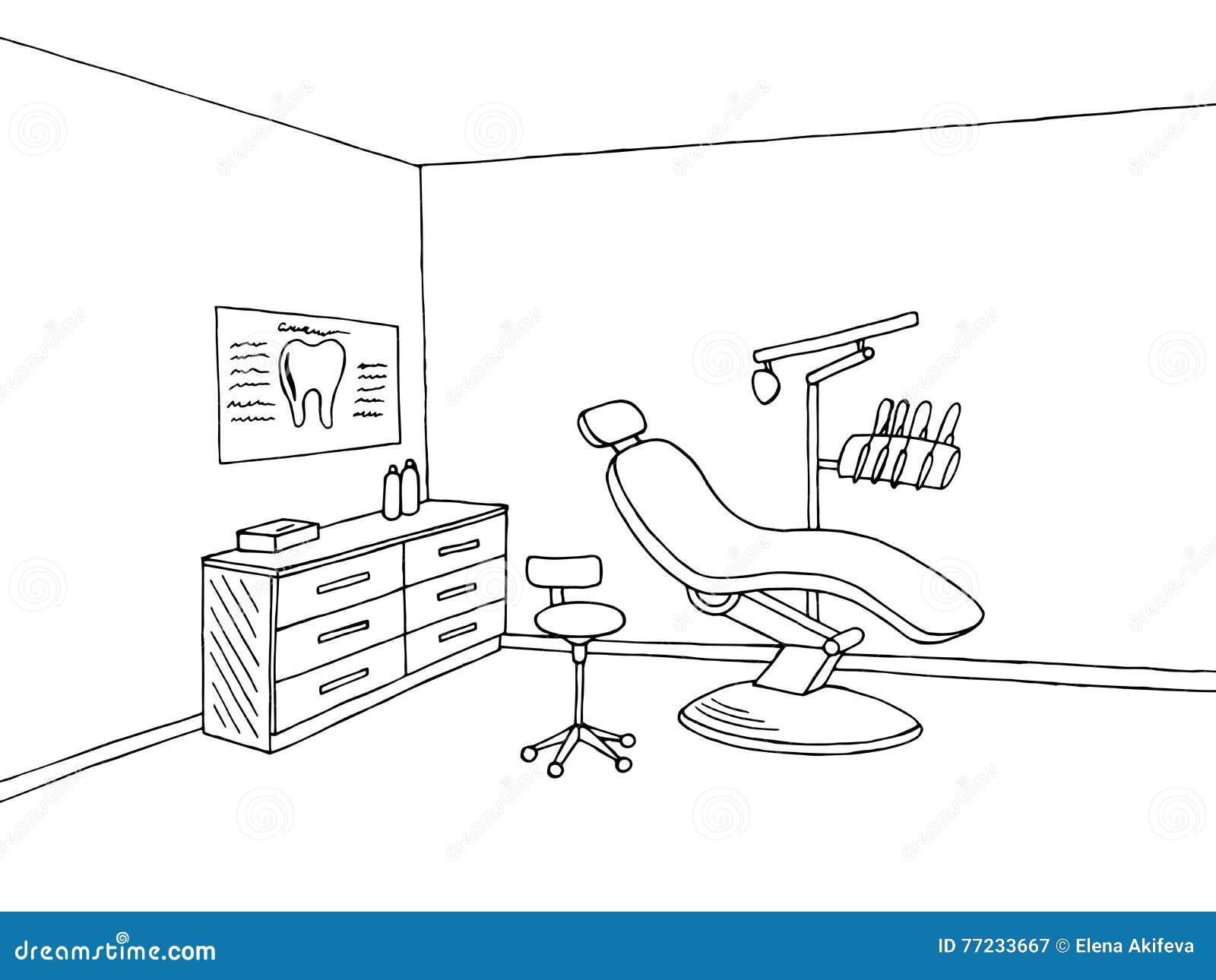 Van de de kliniek grafische kunst van het tandartsbureau zwarte witte de schetsillustratie