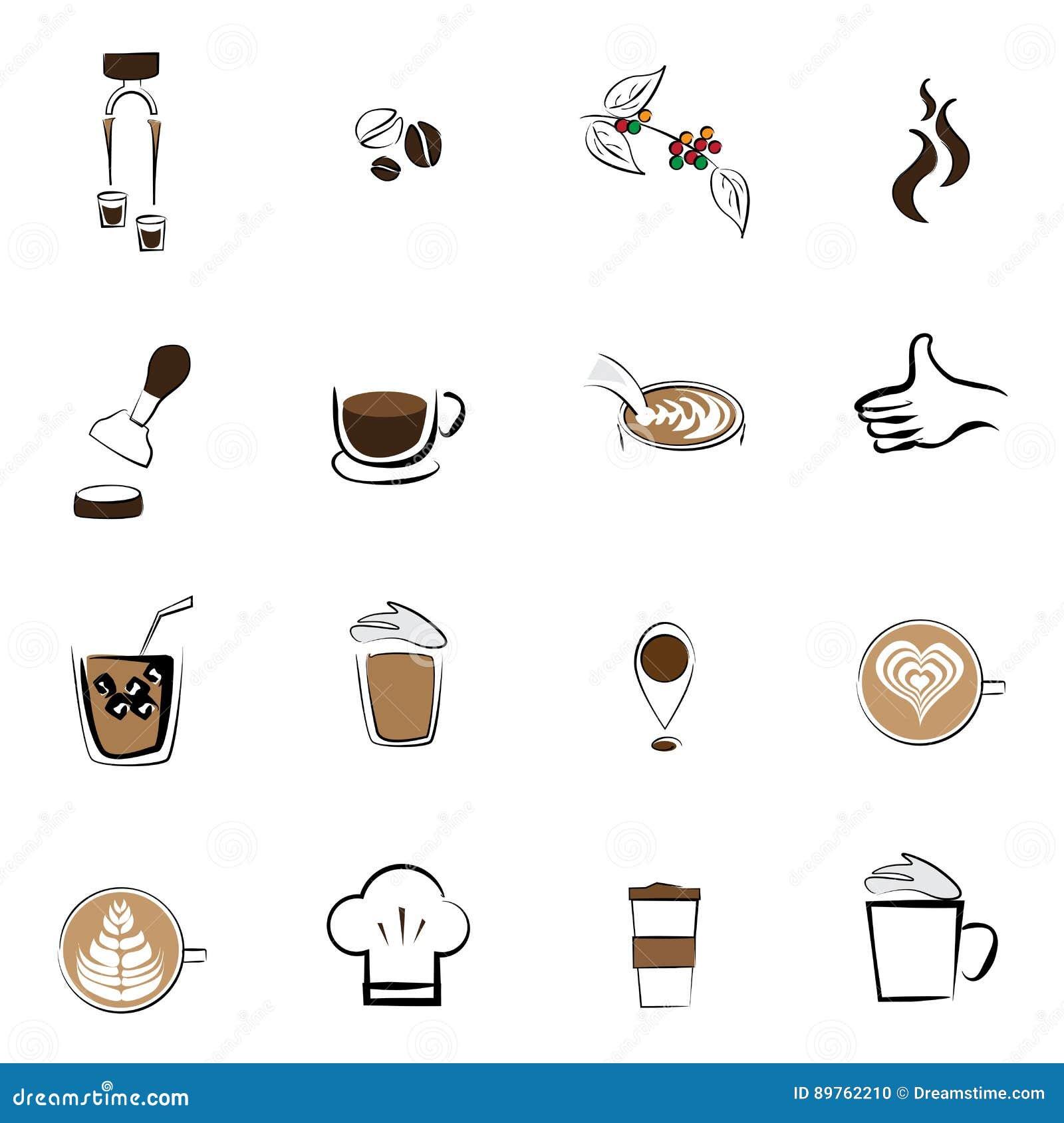 Van de de koffieboon van het koffiepictogram vastgestelde de koffiewinkel