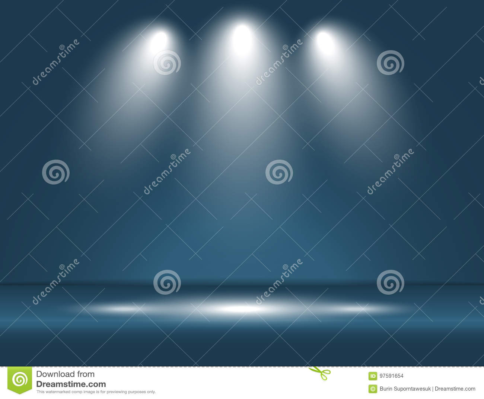 Van de de ruimtestudio van schijnwerper blauwe lichte stralen vector als achtergrond