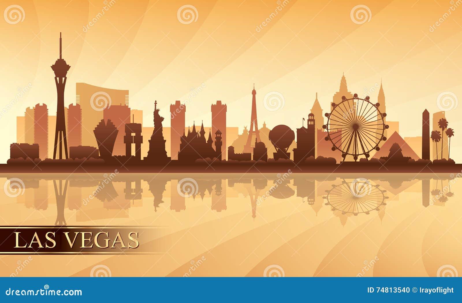 Van de de stadshorizon van Las Vegas het silhouetachtergrond