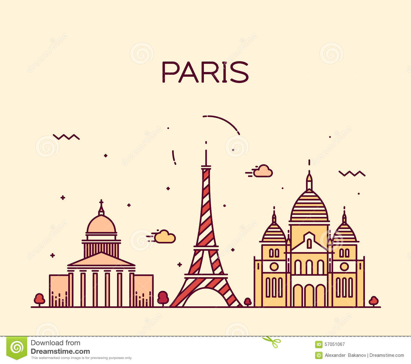 Van de de Stadshorizon van Parijs In vector de lijnart.