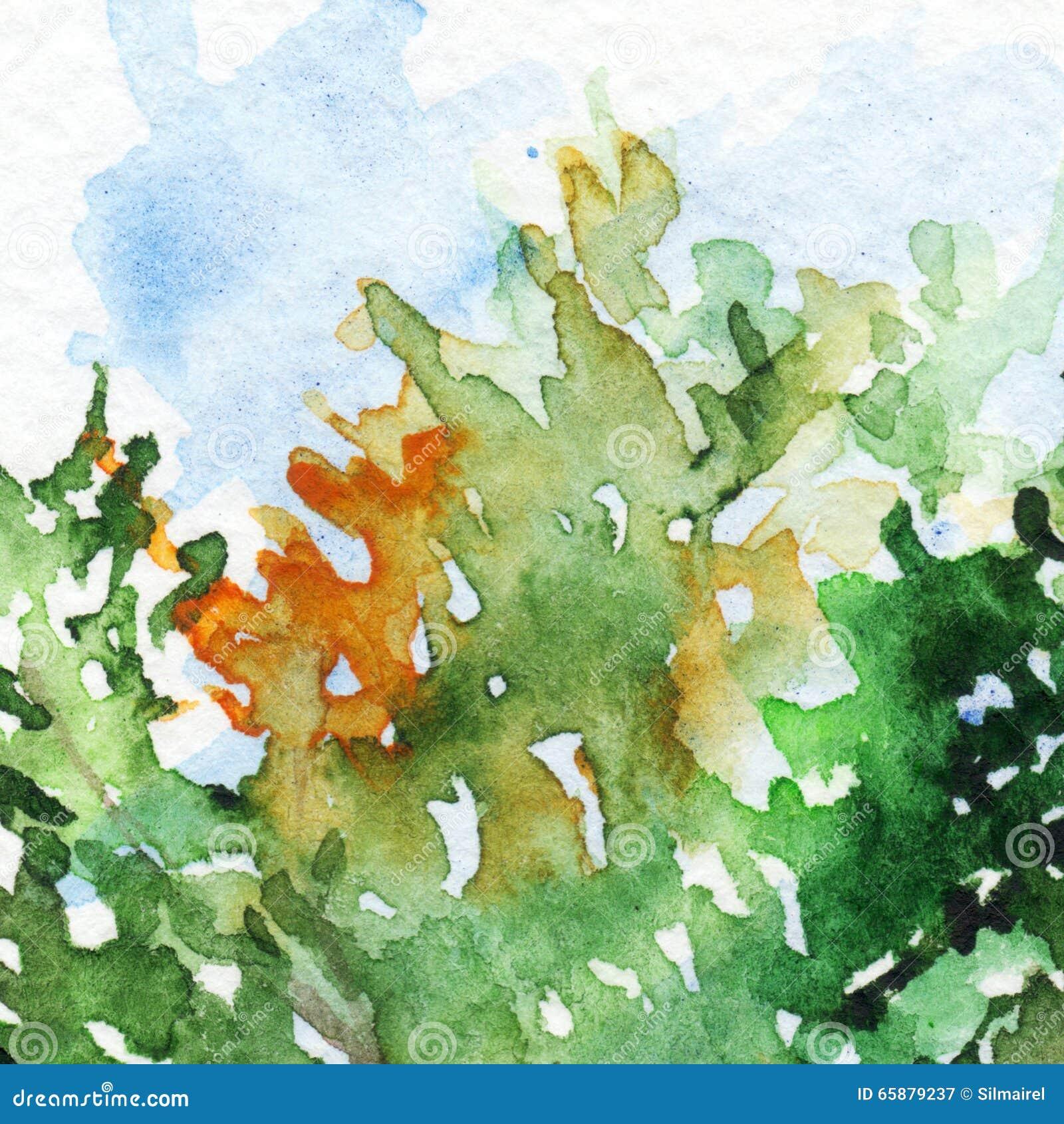 Van de de tak groen oranje blauw textuur van het boomblad behang als achtergrond stock - Groen behang van het water ...