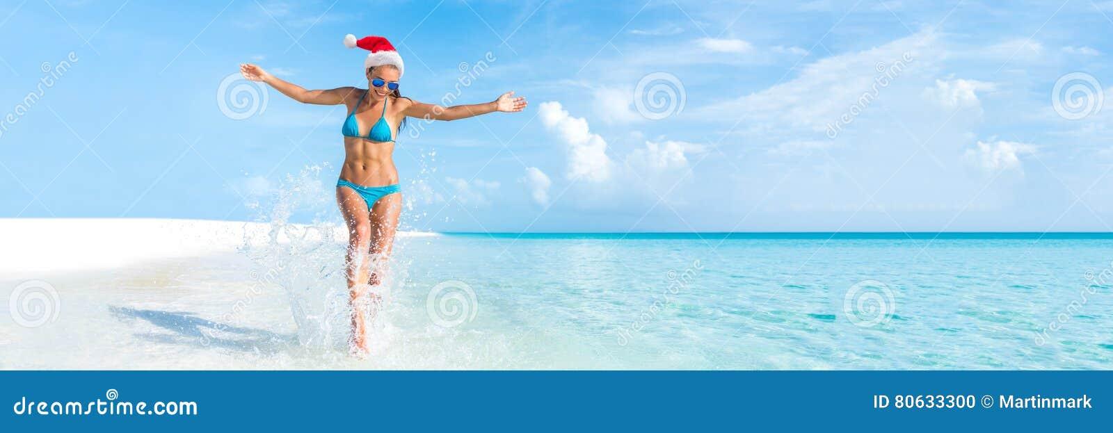 Van de de vakantiereis van het Kerstmisstrand de bannerpanorama