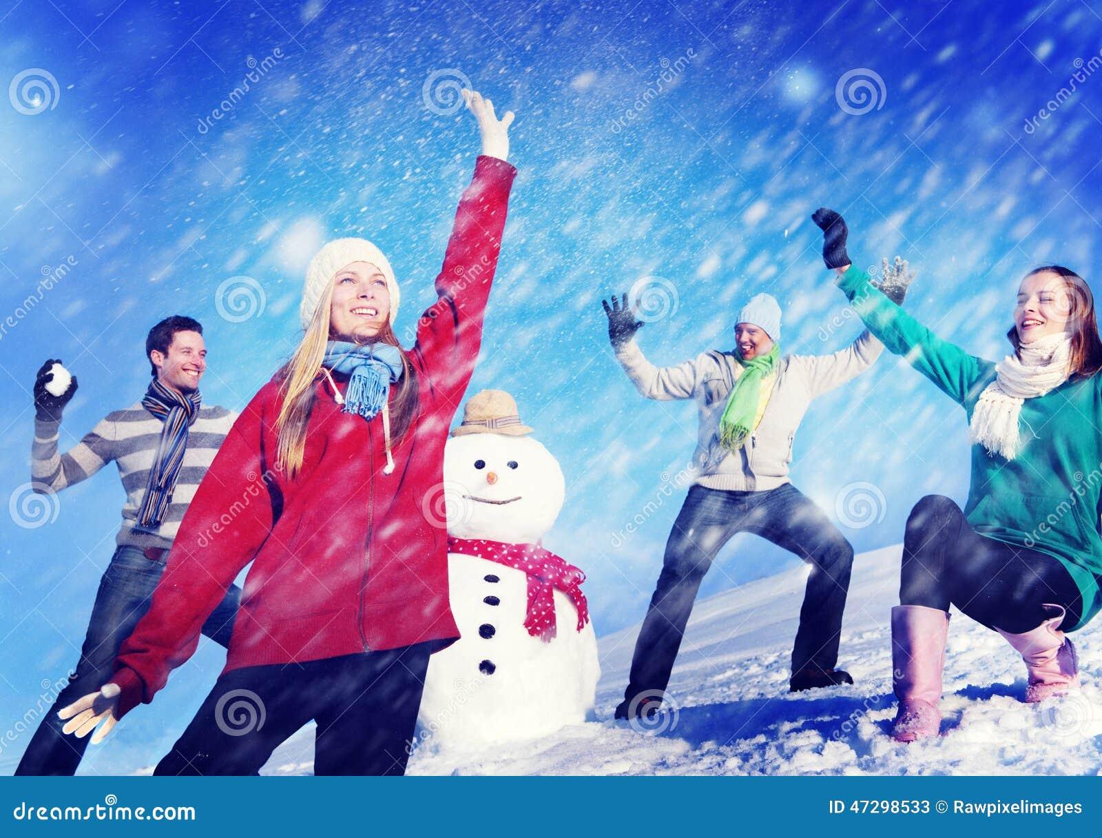 Van de de Vakantiewinter van Kerstmis Vrolijk Mensen de Vriendschapsconcept