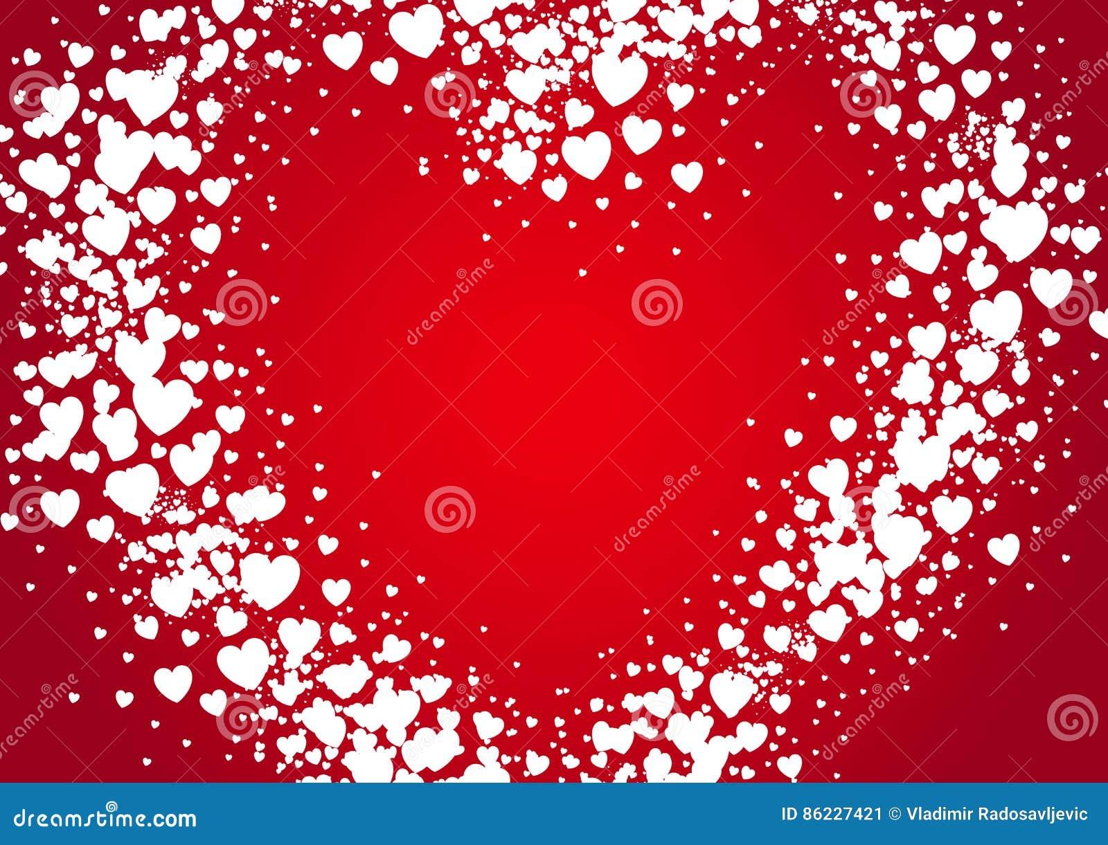 Van de de Valentijnskaartendag van de hartvorm de de kaartnevel met willekeurige verspreiding wordt geschilderd die hoort
