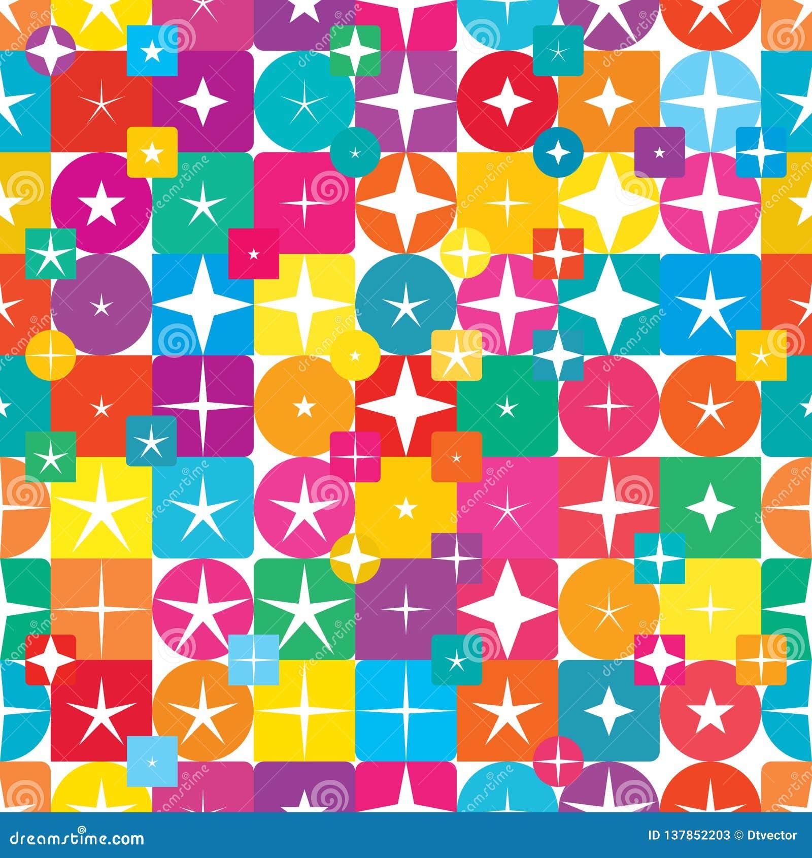 Van de de diamantvorm van de stercirkel vierkant kleurrijk de symmetrie naadloos patroon