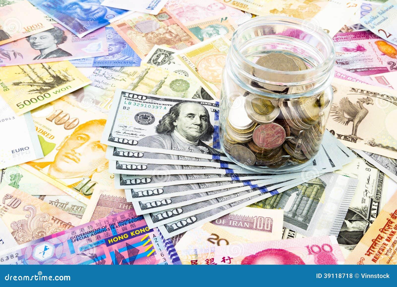 Van de dollarbankbiljetten en wereld munt