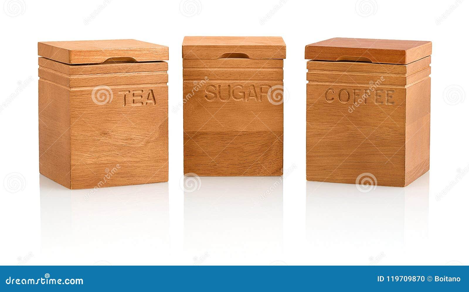 Van de de elementenacacia van de keukenambacht de de natuurlijke houten die thee, koffie & containers van de suikeropslag op witt