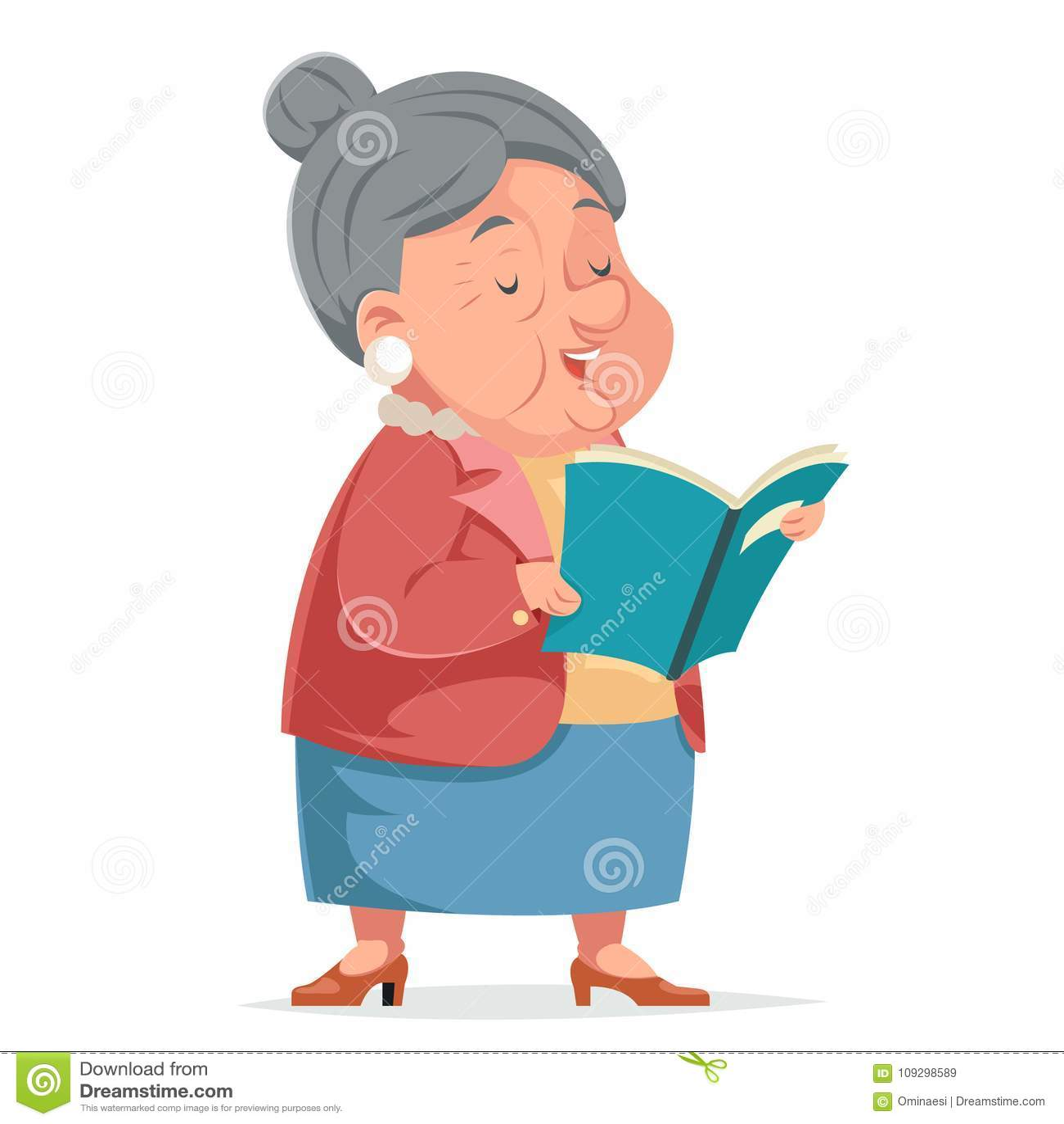 Van de de Grootmoeder de Oude Vrouw van de boeklezing van het de Omakarakter van het het Beeldverhaalontwerp van Icont Volwassen