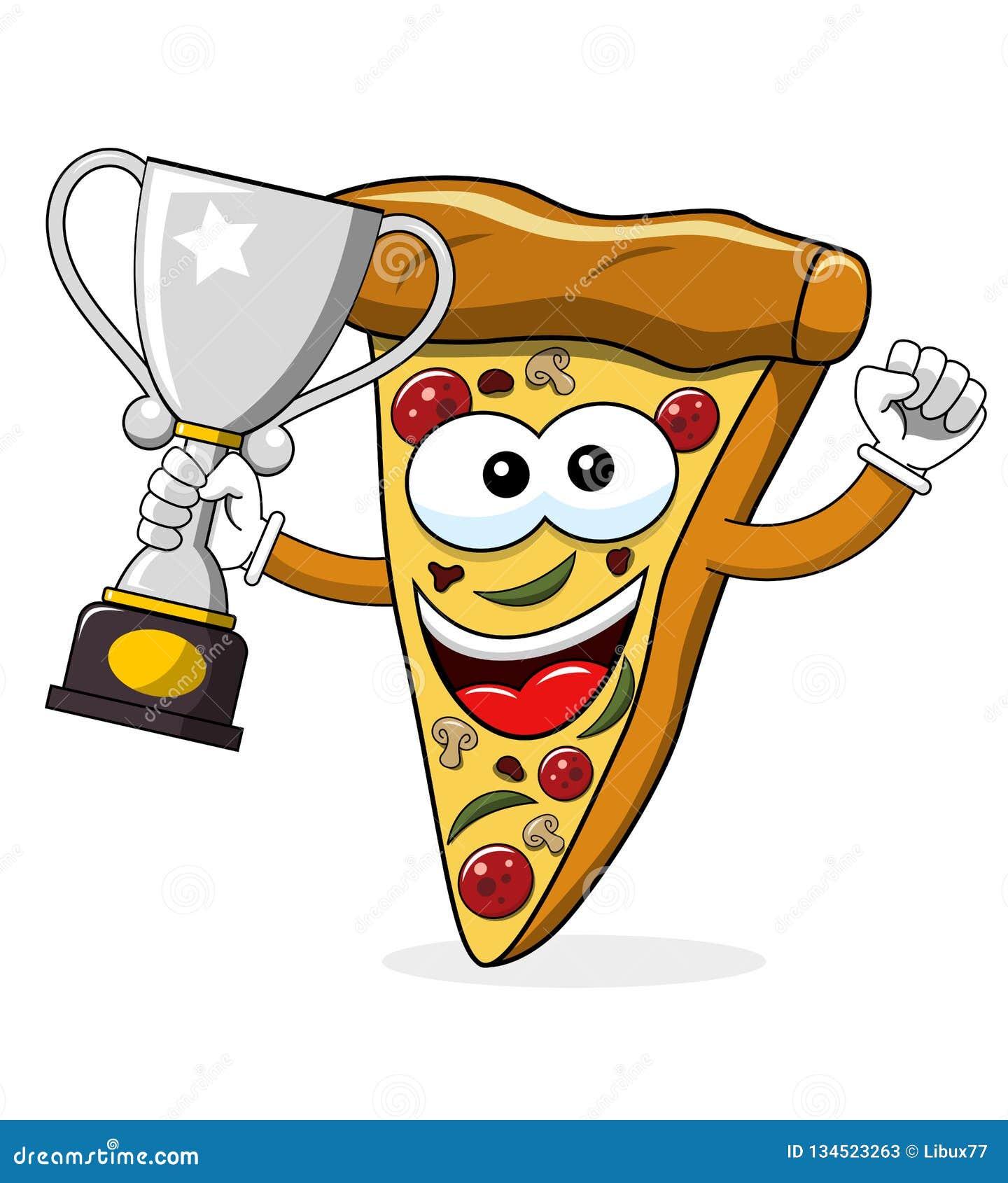 Van de het beeldverhaal grappige kampioen van de pizzaplak geïsoleerde de winnaarkop