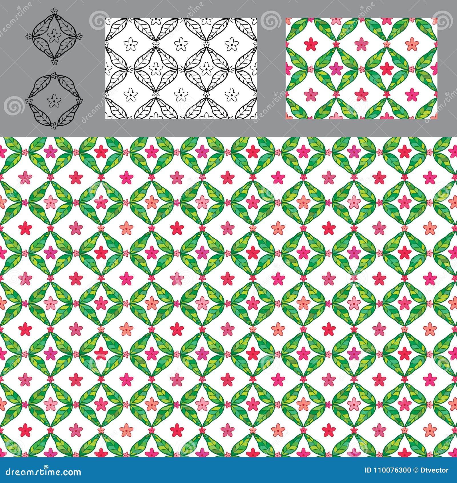 Van de het bladbloem van de diamantvorm reeks van het de symmetrie de naadloze patroon