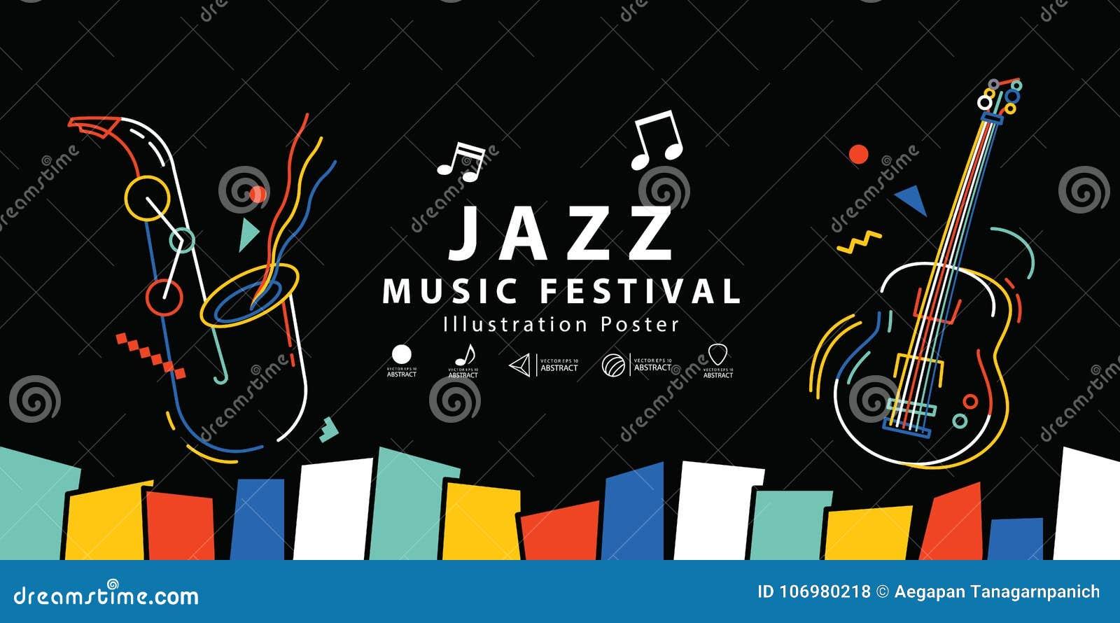 Van de het festivalbanner van de jazzmuziek de vector van de de afficheillustratie Backgroun
